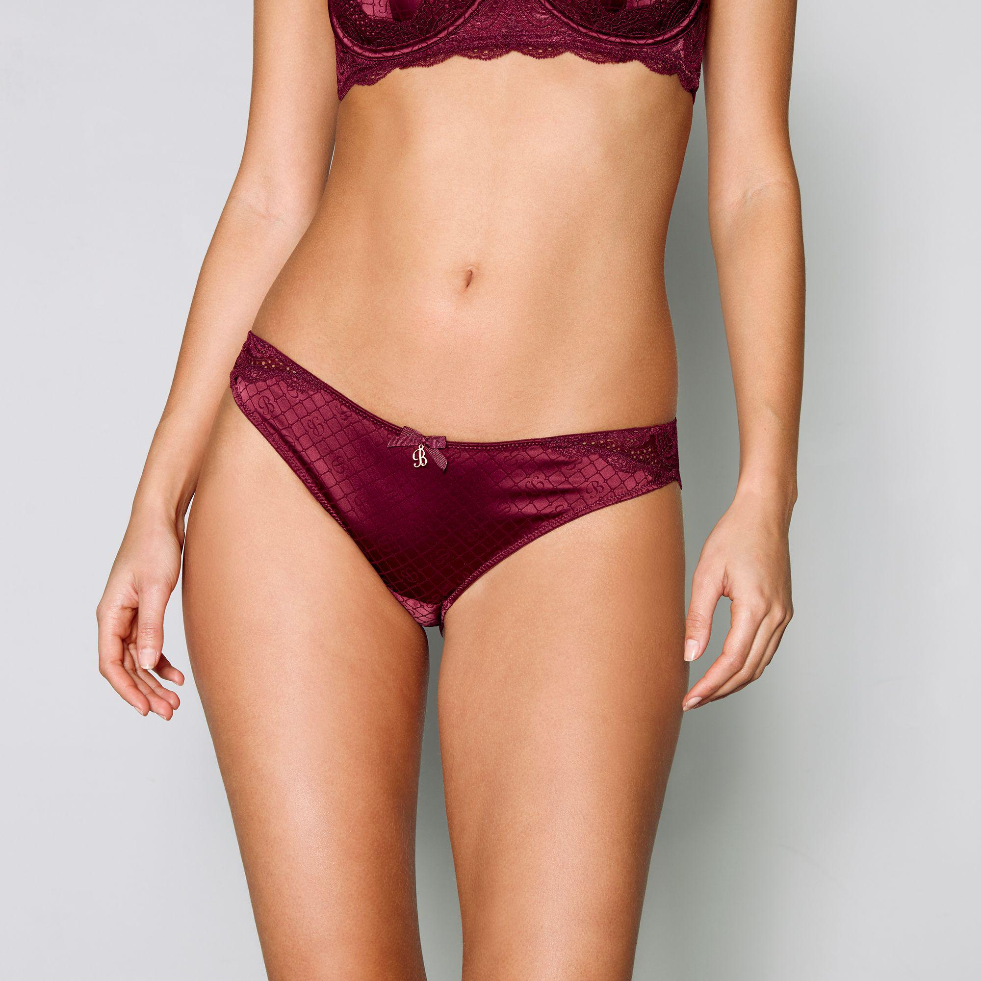 c0c5f33231 Ted Baker Dark Red Jacquard Satin Lace Brazilian Knickers in Red - Lyst