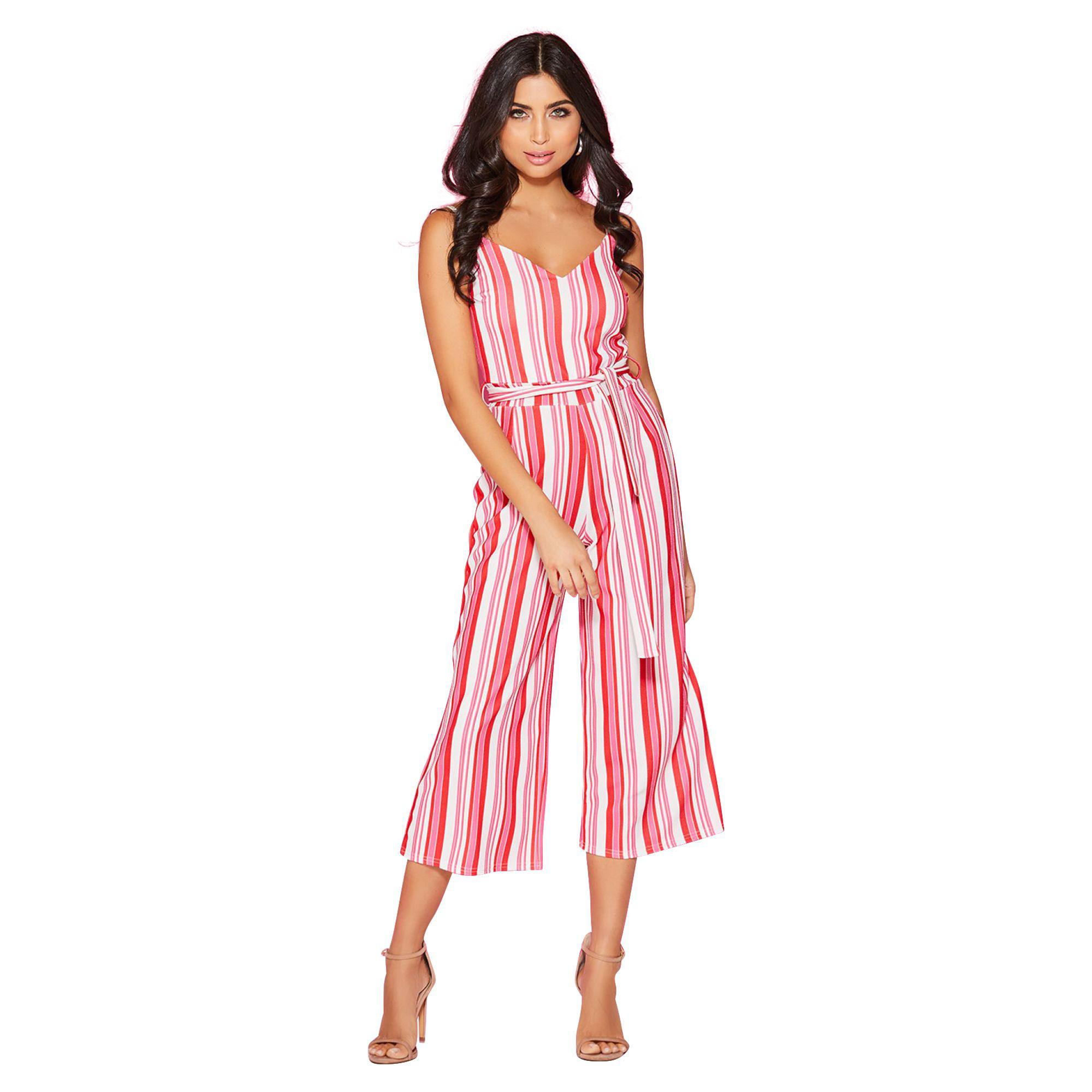 97416a76fcdb Quiz Red And Pink Stripe Culottes Jumpsuit in Red - Lyst
