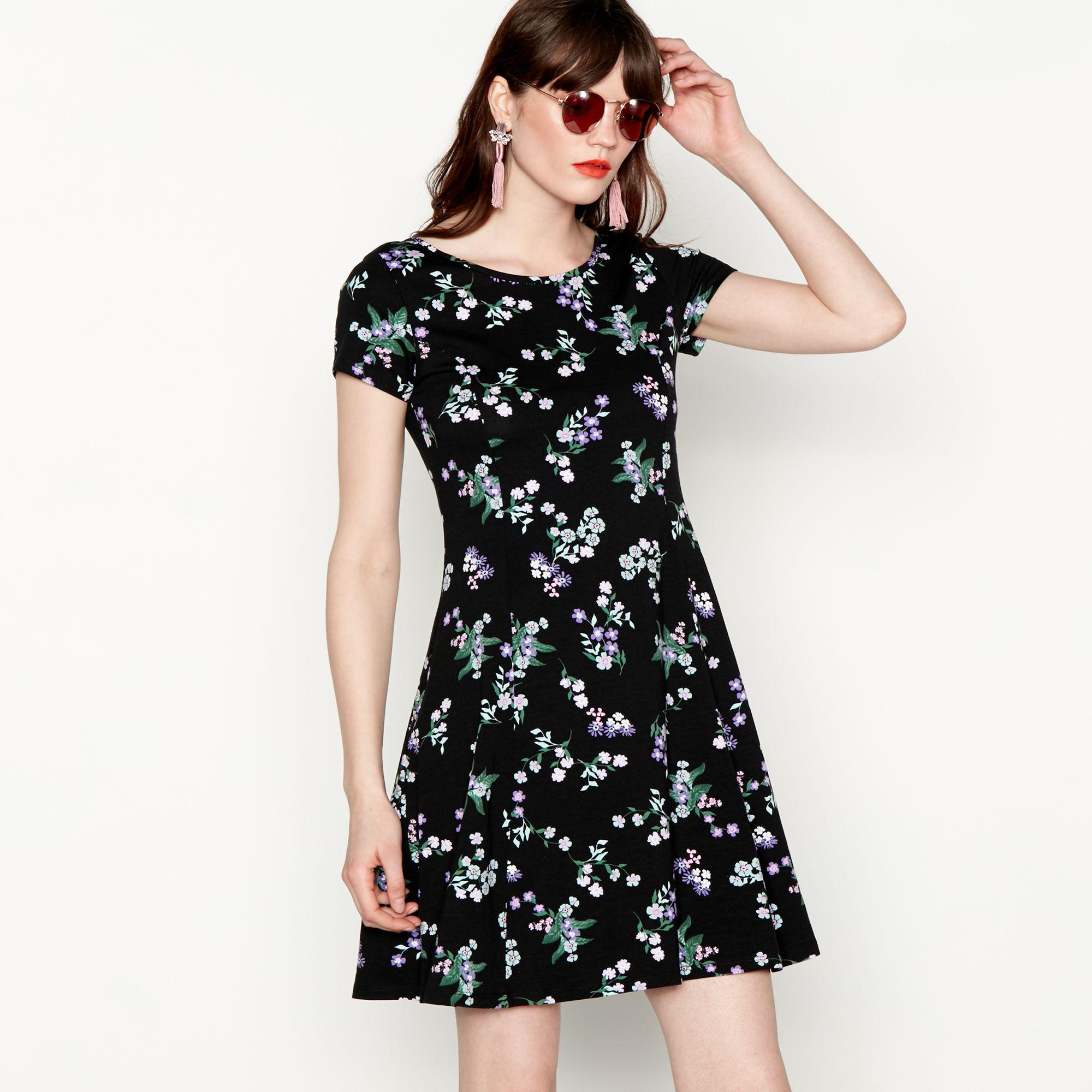 235d085a40 Red Herring Black Floral Print Cotton Blend Knee Length Skater Dress ...