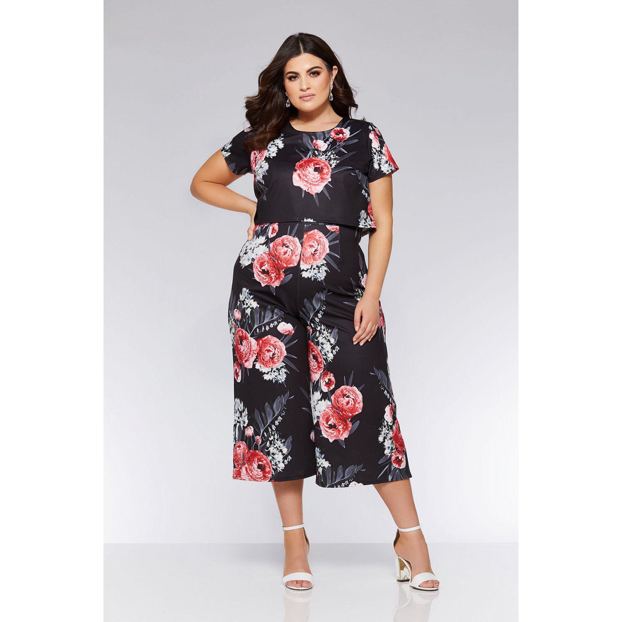 123b7d12fa4d Quiz Curve Black And Pink Floral Cap Sleeve Jumpsuit in Black - Lyst