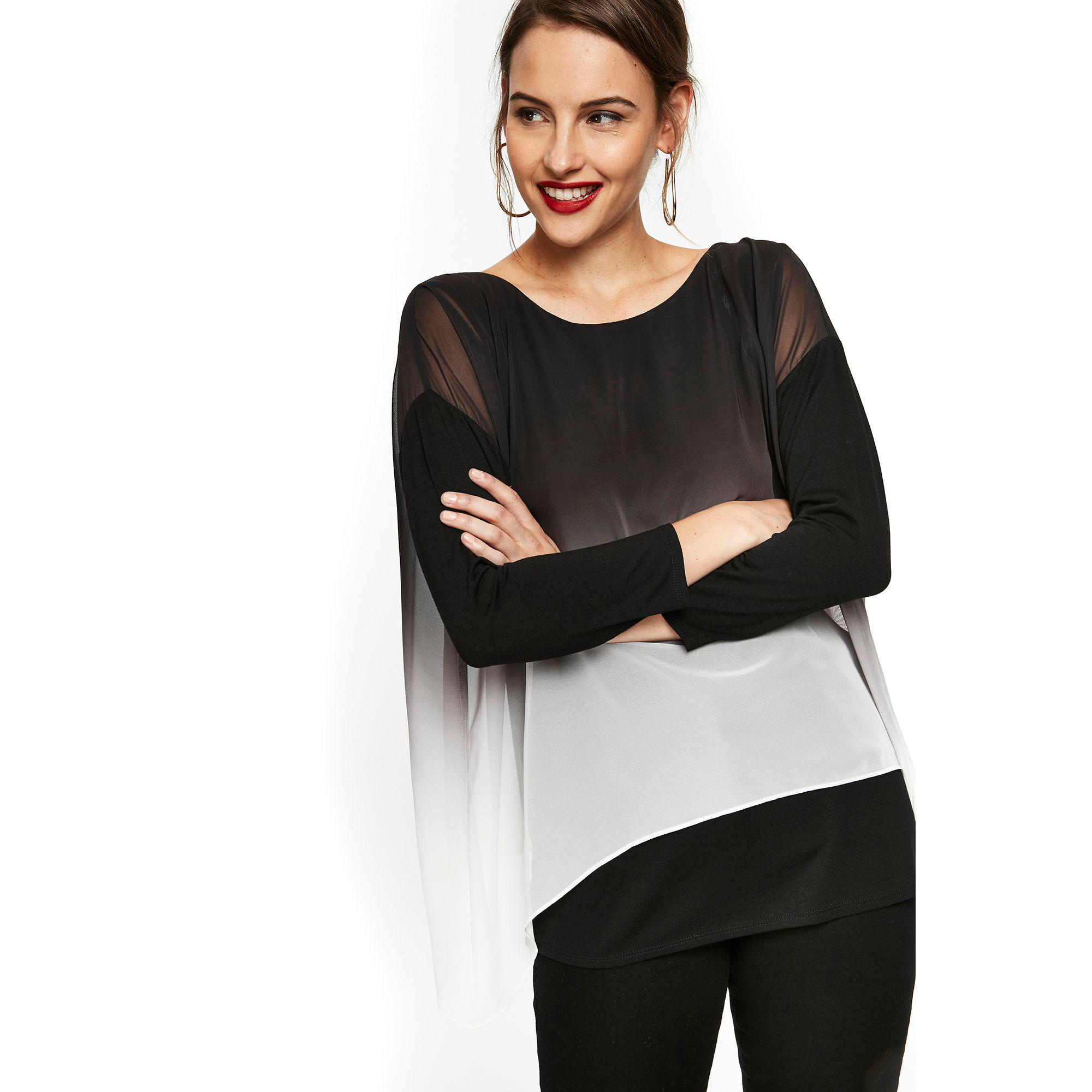 3dfc36b5aebf Wallis Black Ombre Print Overlayer Top in Black - Lyst