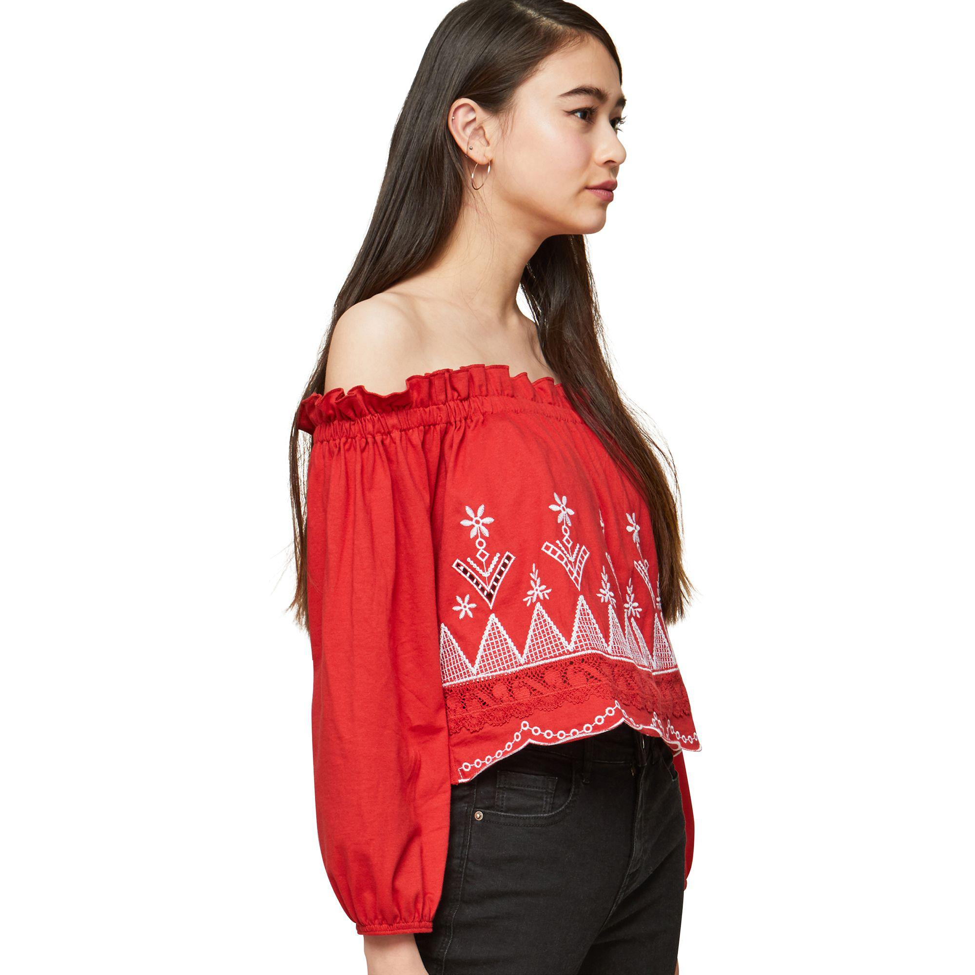 Lyst - Miss Selfridge Petite Embroidered Bardot Long Sleeve Top in Red f65ff49d9