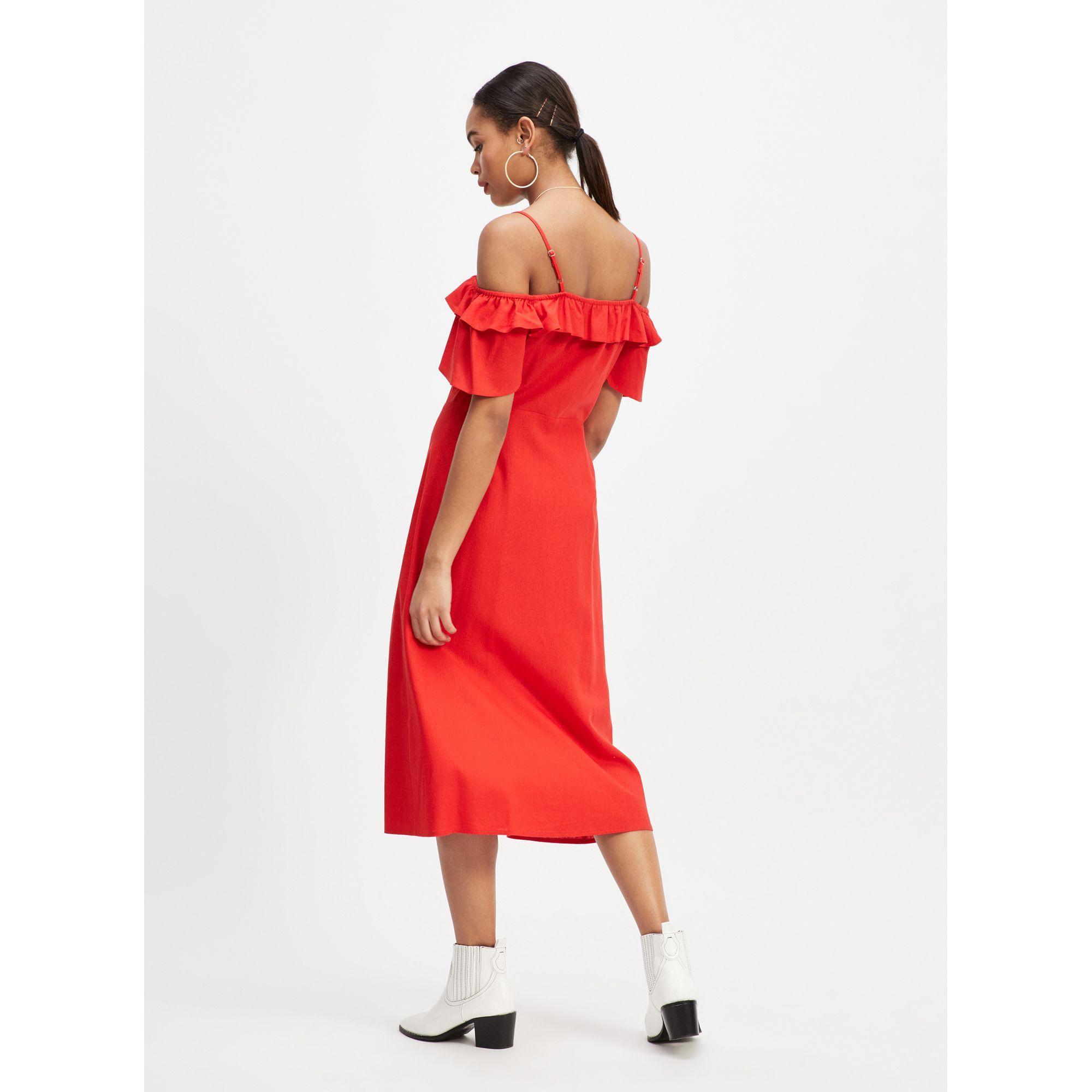 0be4da89c77166 Miss Selfridge Red Linen Bardot Midi Dress in Red - Lyst