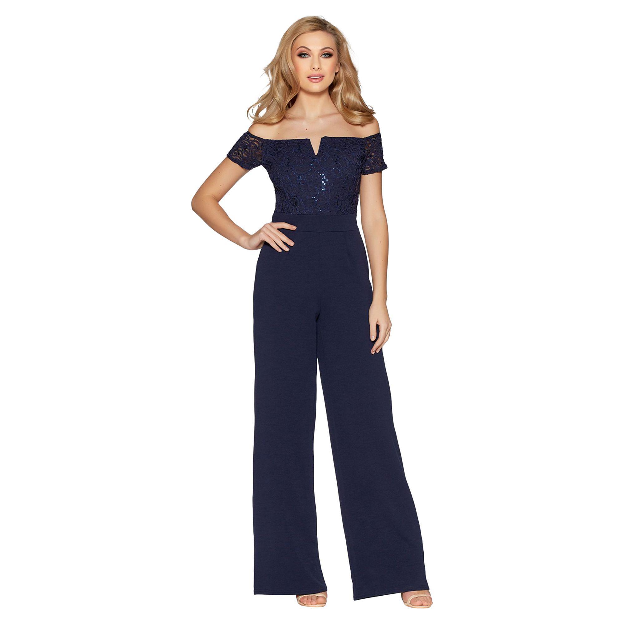 b611a81d2d26 Quiz Navy Sequin Lace Bardot Jumpsuit in Blue - Lyst