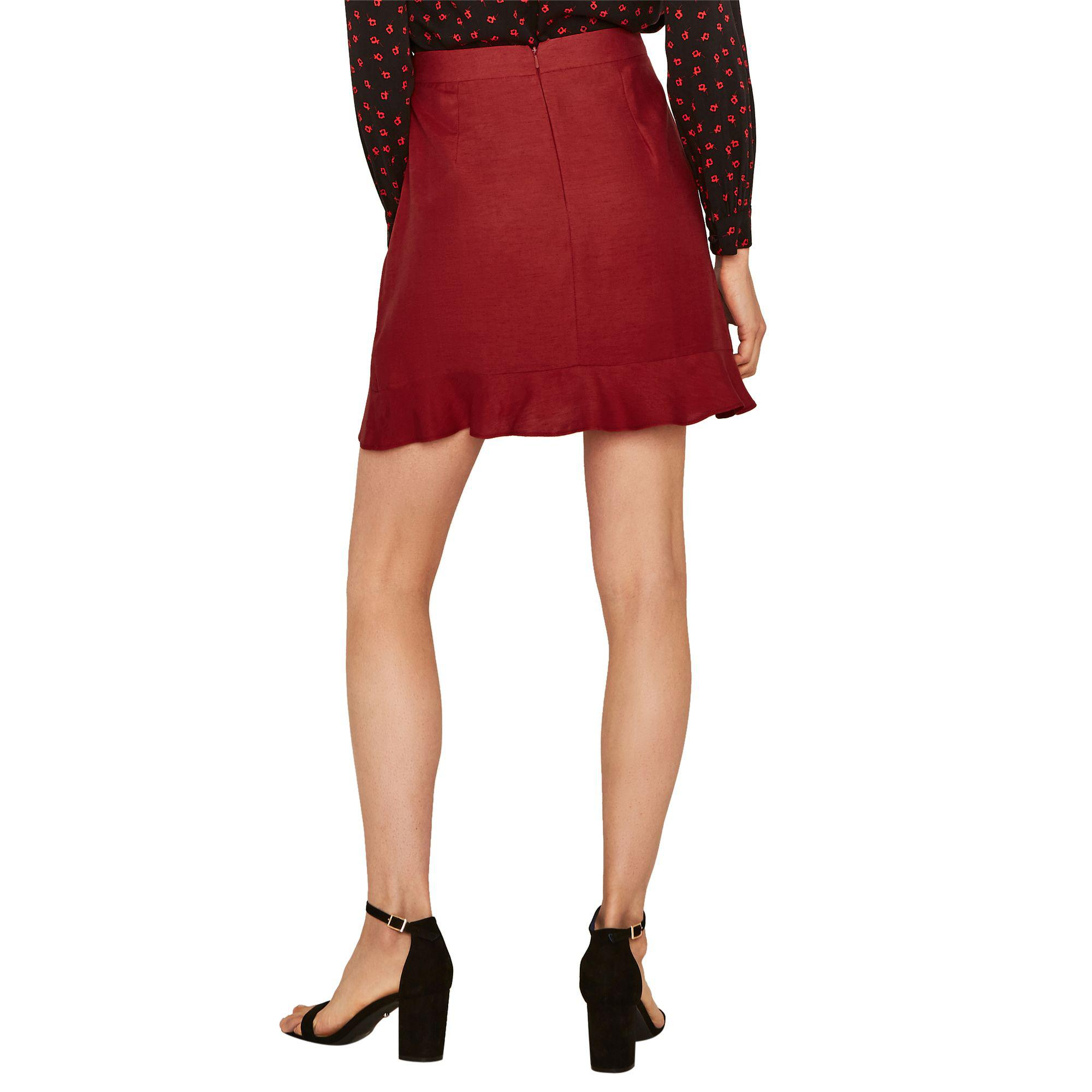 ebfeab77be Oasis Mid Red Linen Ruffle Wrap Mini Skirt in Red - Save 44% - Lyst