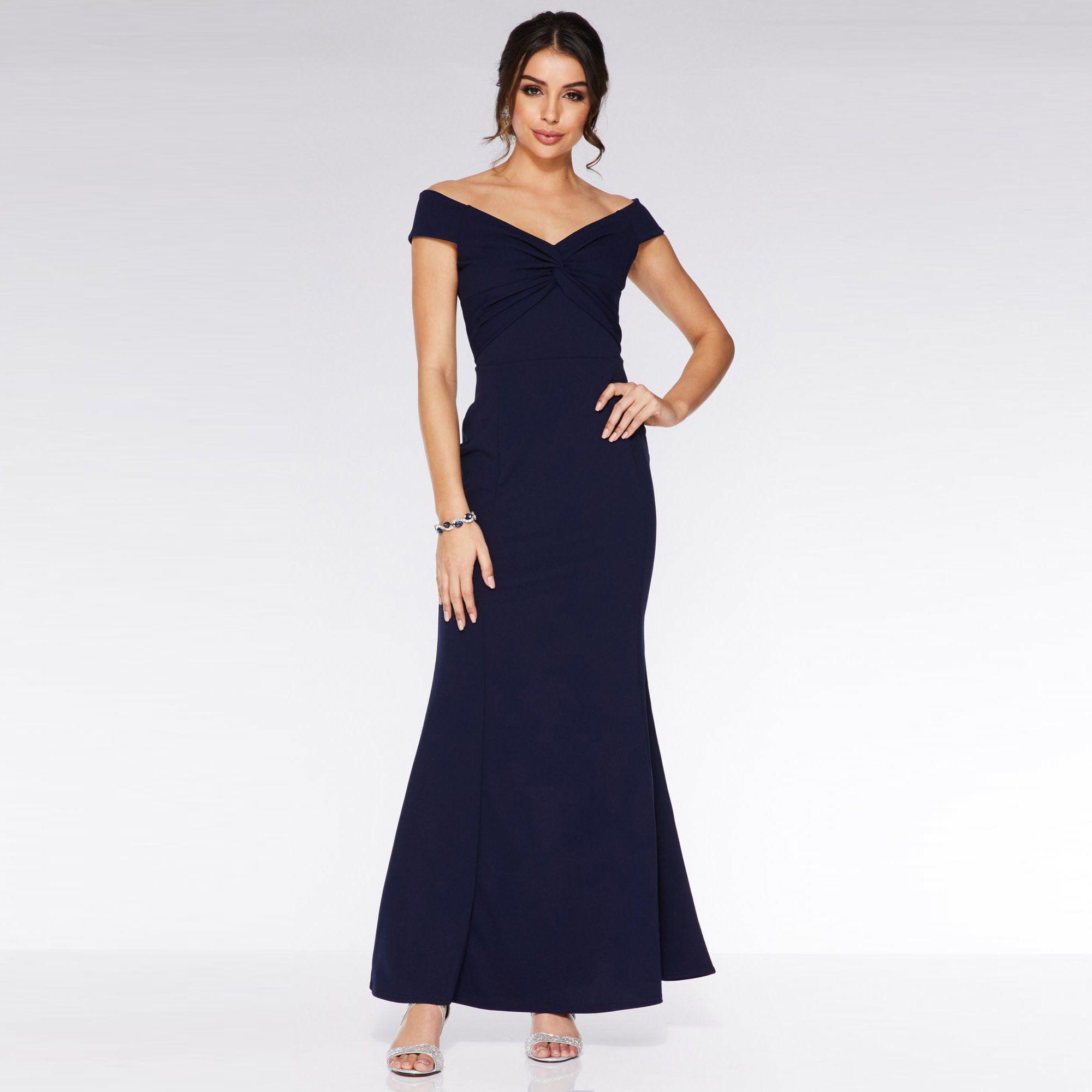 74e146a1efe Quiz Navy Bardot Knot Front Maxi Dress in Blue - Lyst