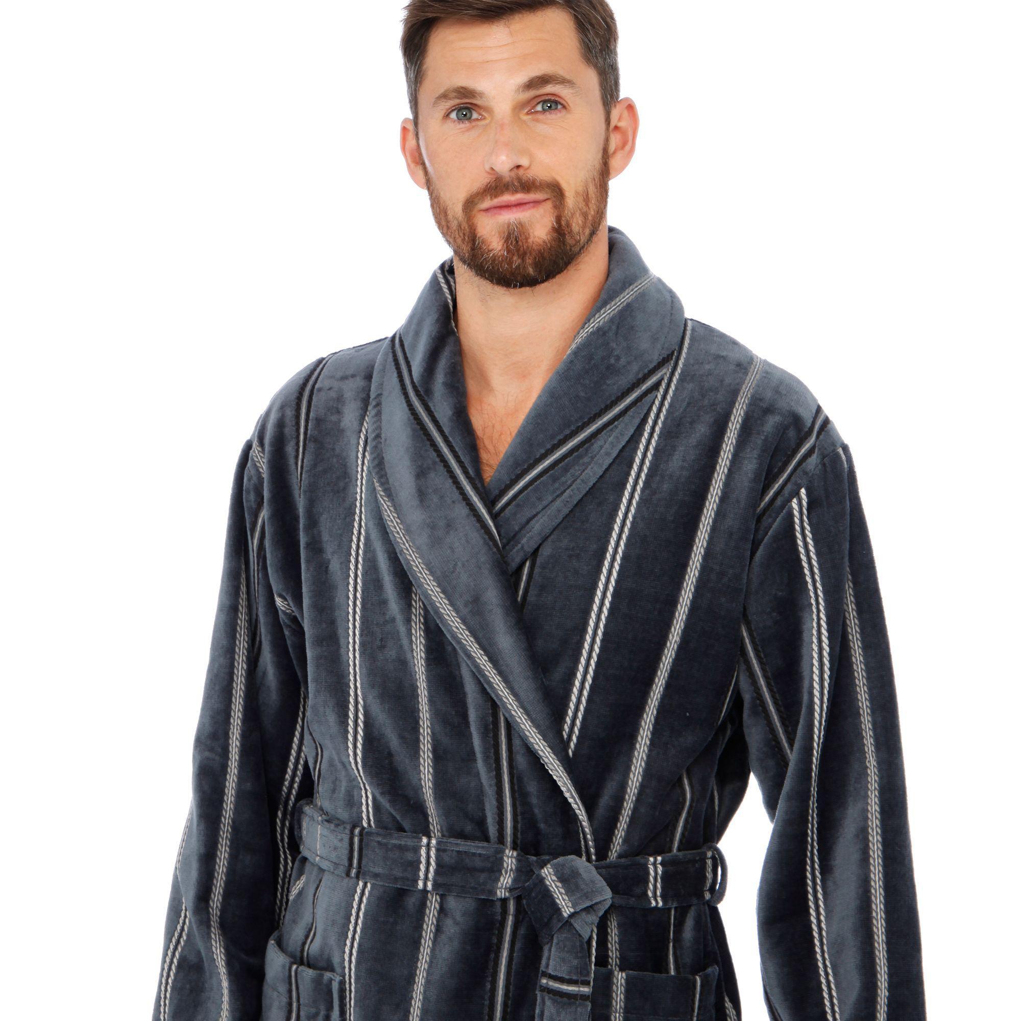892179814b J By Jasper Conran Grey Velour Stripe Print Dressing Gown in Gray ...