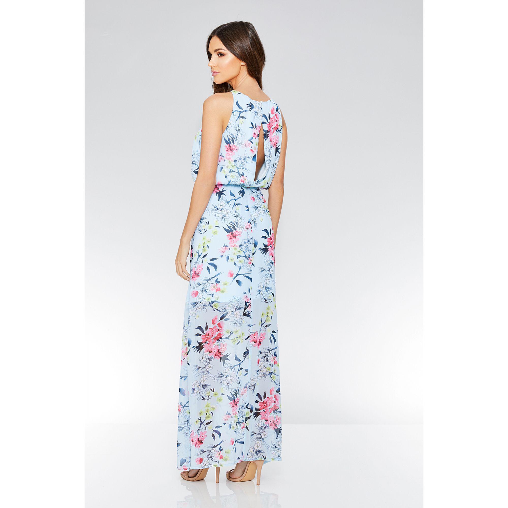4e09a2b2db Quiz - Blue Floral Print Chiffon High Neck Sleeveless Maxi Dress - Lyst.  View fullscreen