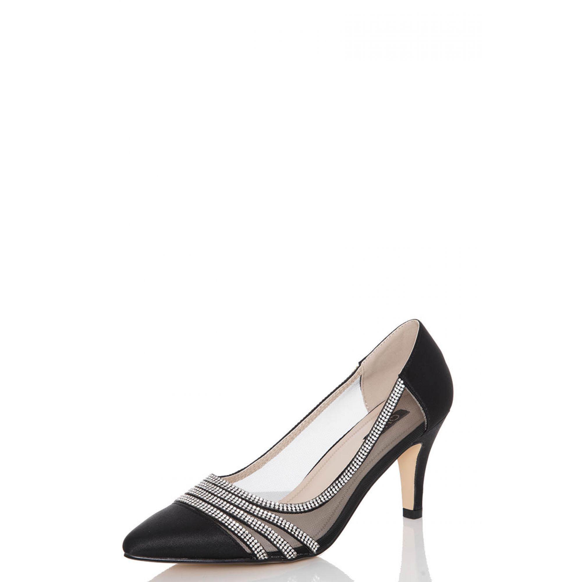 e6968734f9d Quiz - Black Satin Diamante Low Heel Court Shoes - Lyst. View fullscreen