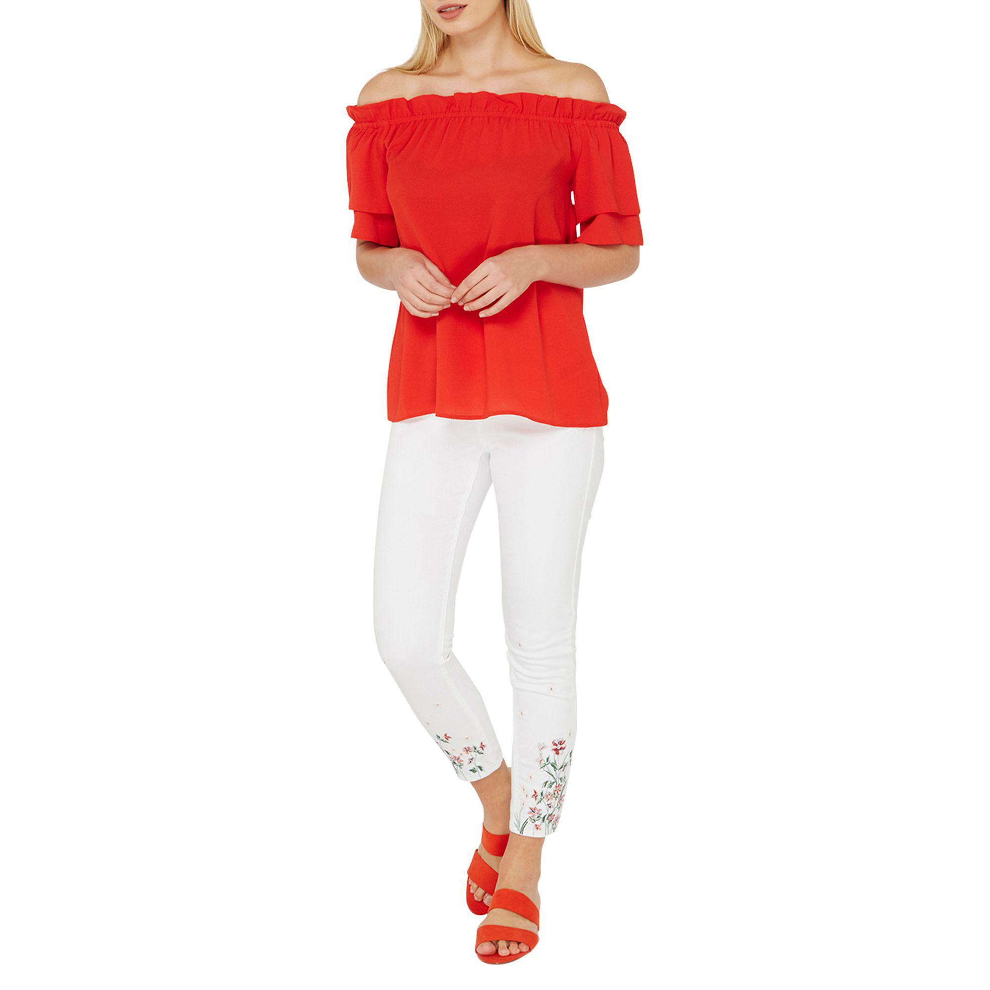 ebe9e6cb070 Dorothy Perkins Red Frill Sleeve Bardot Top in Red - Lyst
