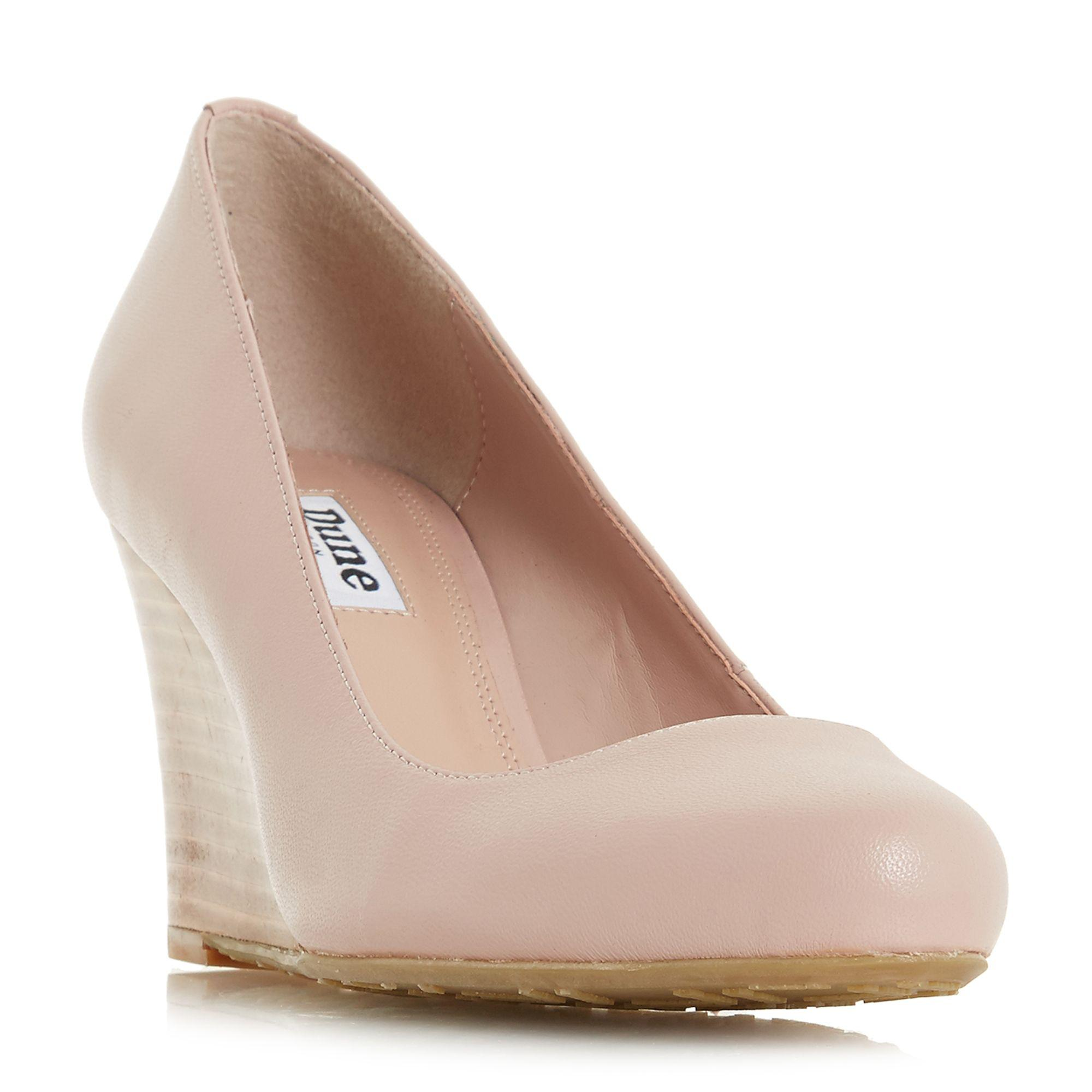 Dune Light Pink Leather  alixxe  High Wedge Heel Court Shoes in Pink ... afa3807bc