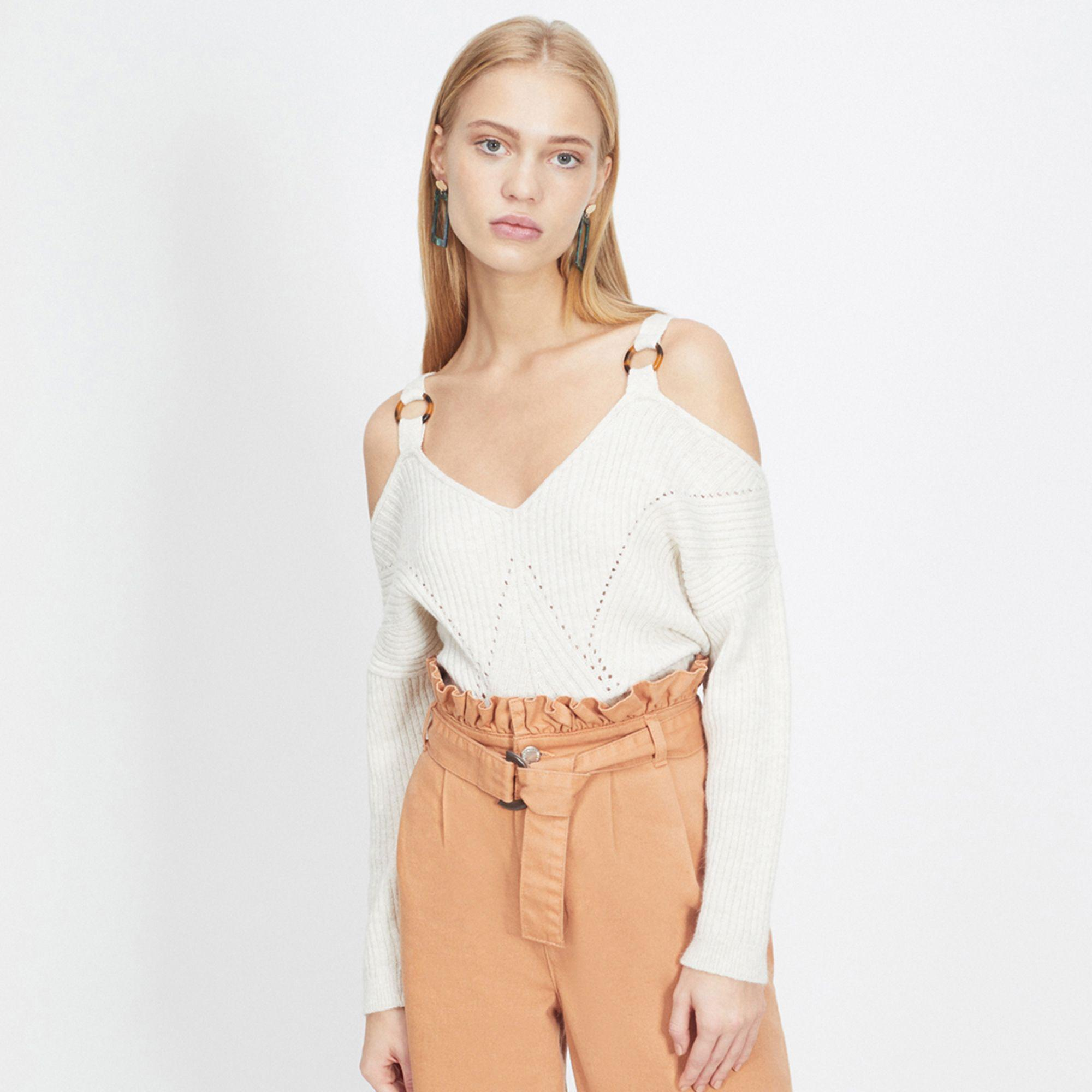 db3bfbbee35d Miss Selfridge Cream O-ring Strap Bardot Knitted Jumper in White - Lyst