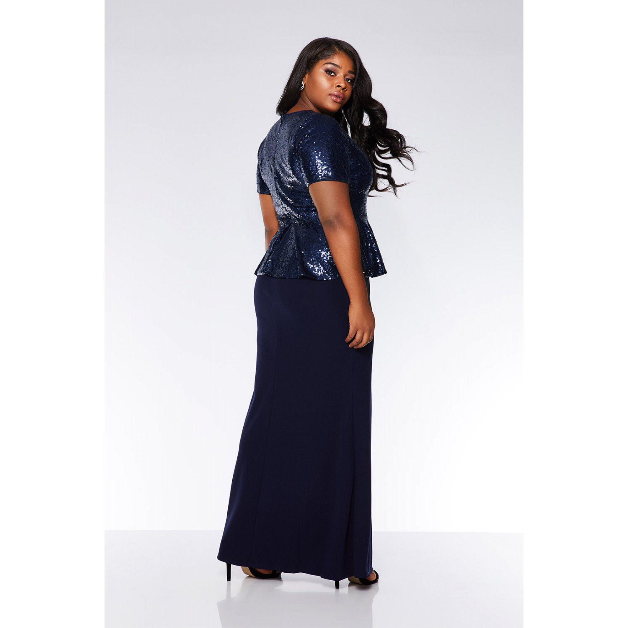 8fd6e2aa6864 Quiz - Blue Curve Navy Sequin Peplum Maxi Dress - Lyst. View fullscreen