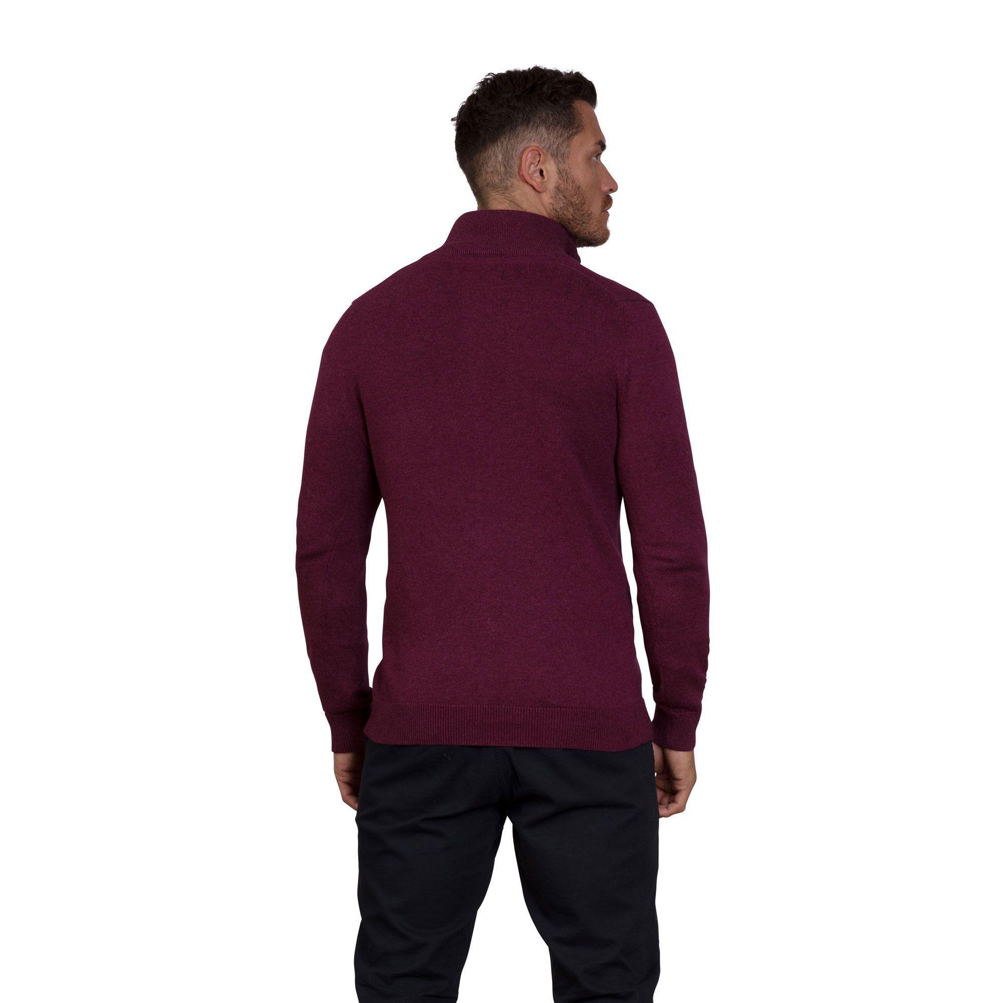 e74b26ef9ca0ac Raging Bull - Red Burgundy Knitted Cotton Cashmere 1/4 Zip Sweater for Men  -. View fullscreen