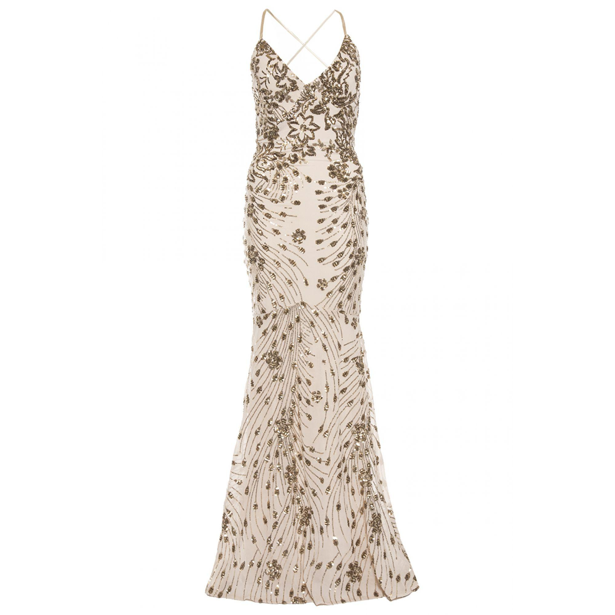 3195268eabc Quiz Champagne Sequin Cross Back Fishtail Maxi Dress in Metallic - Lyst