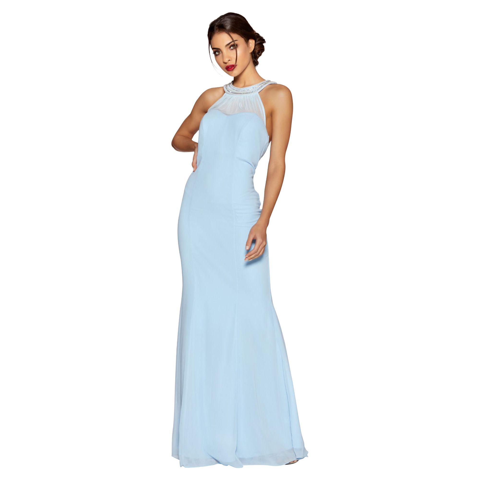 39400620c Quiz - Powder Blue Chiffon Sweetheart Neck Maxi Dress - Lyst. View  fullscreen