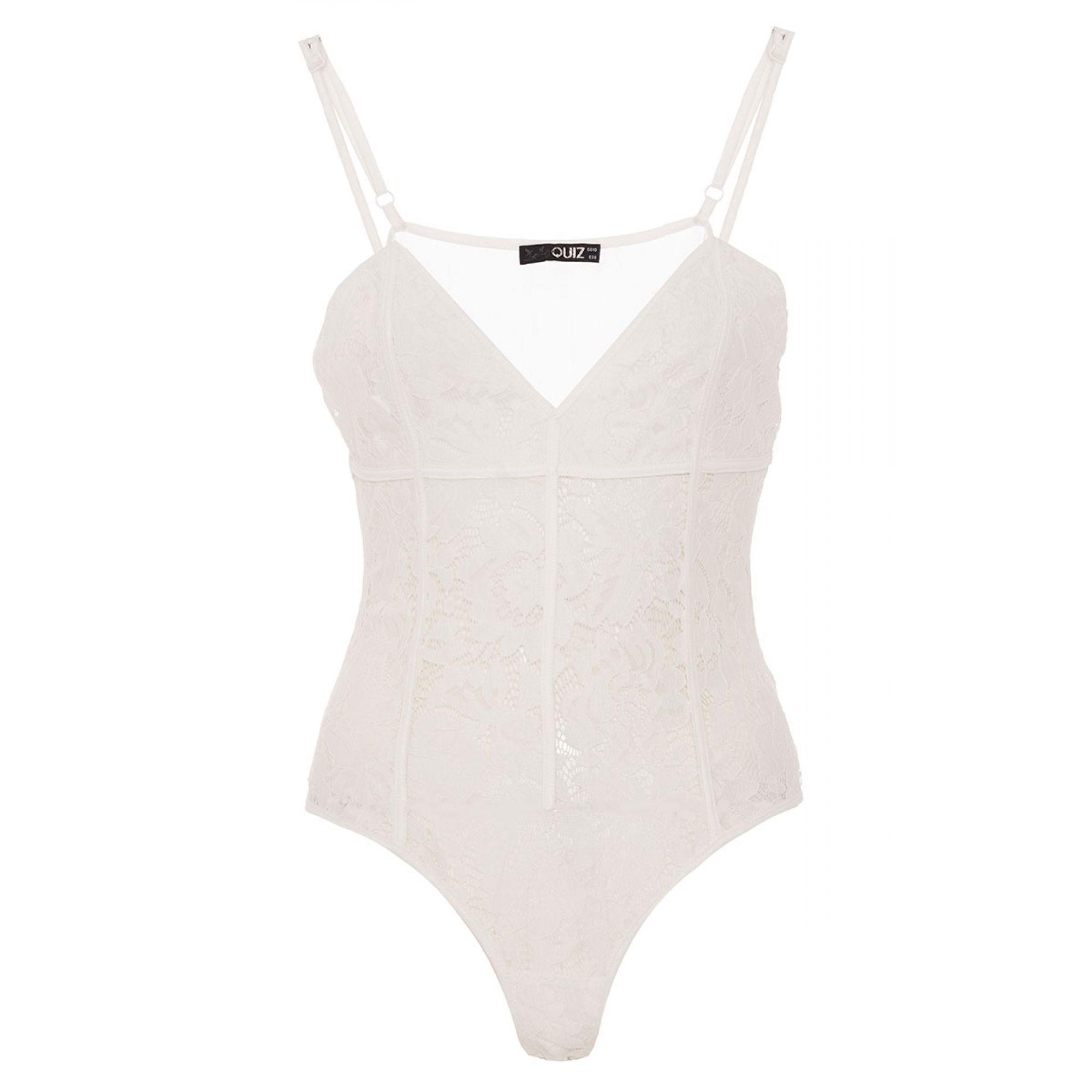 Quiz Cream Lace Mesh Corset Bodysuit in Natural - Lyst ce3f46802