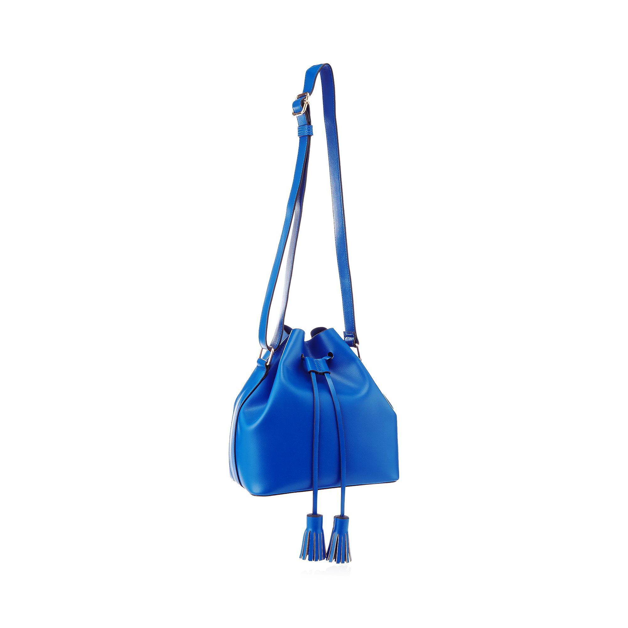 e1ce035c46d Red Herring Blue Faux Leather Drawstring Tassel Duffle Bag in Blue ...