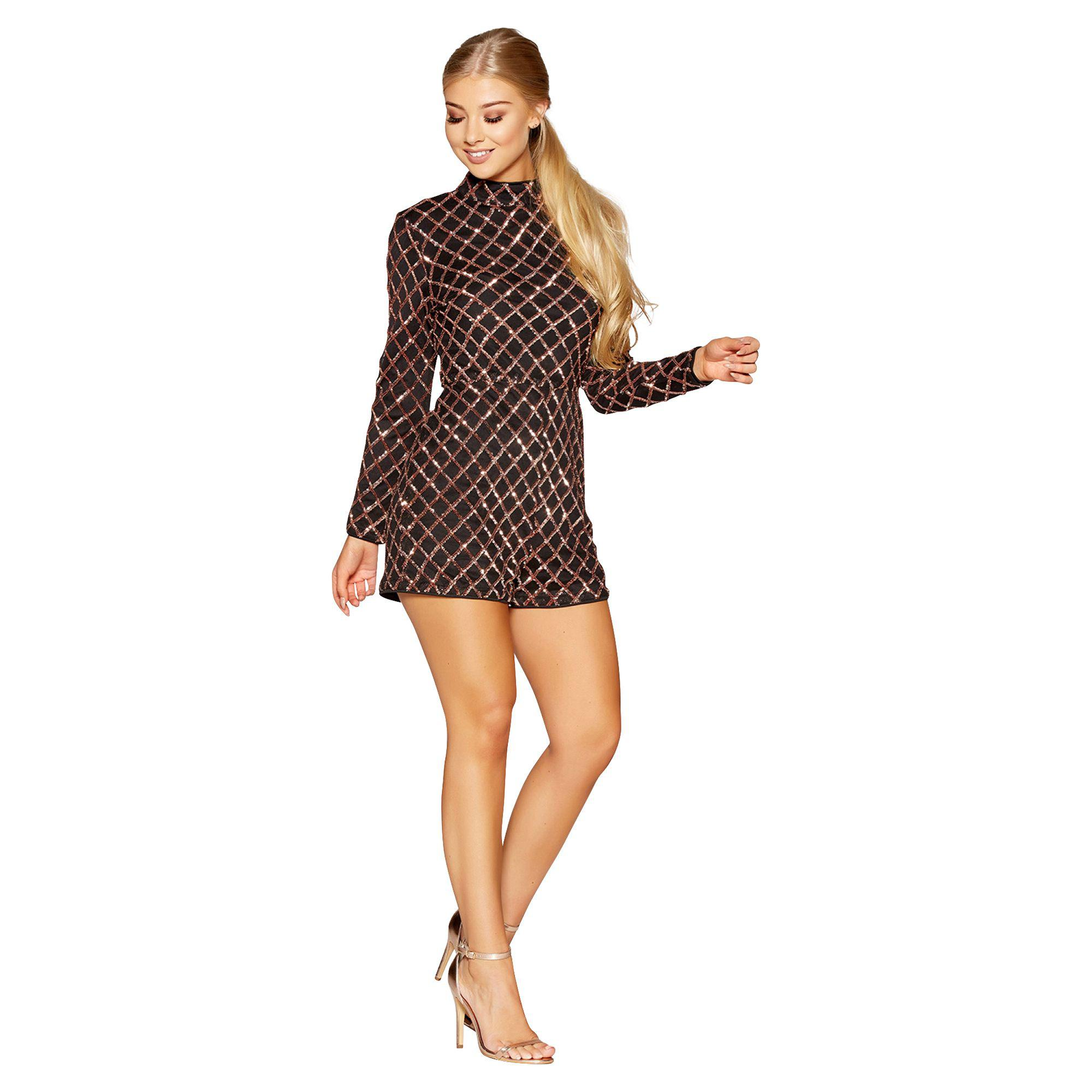 dbd0112f266c Quiz Gabby s Black And Rose Gold Sequin Detail Long Sleeved Playsuit ...