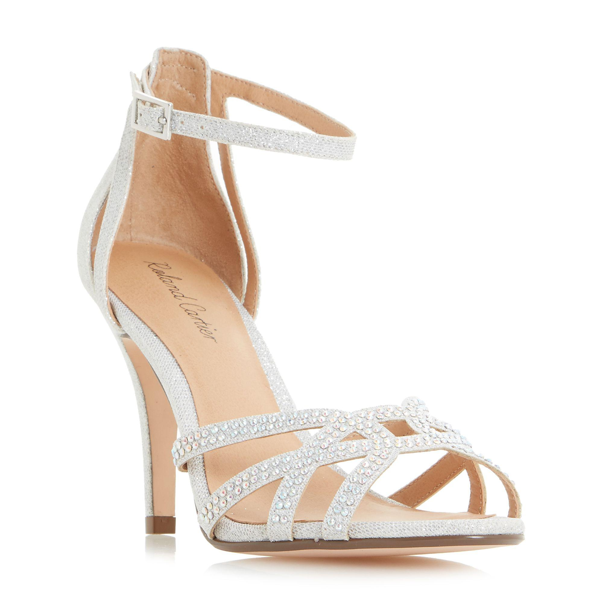 527a6176c13 Roland Cartier Silver  magma  Diamante Cut Out Heeled Sandals in ...