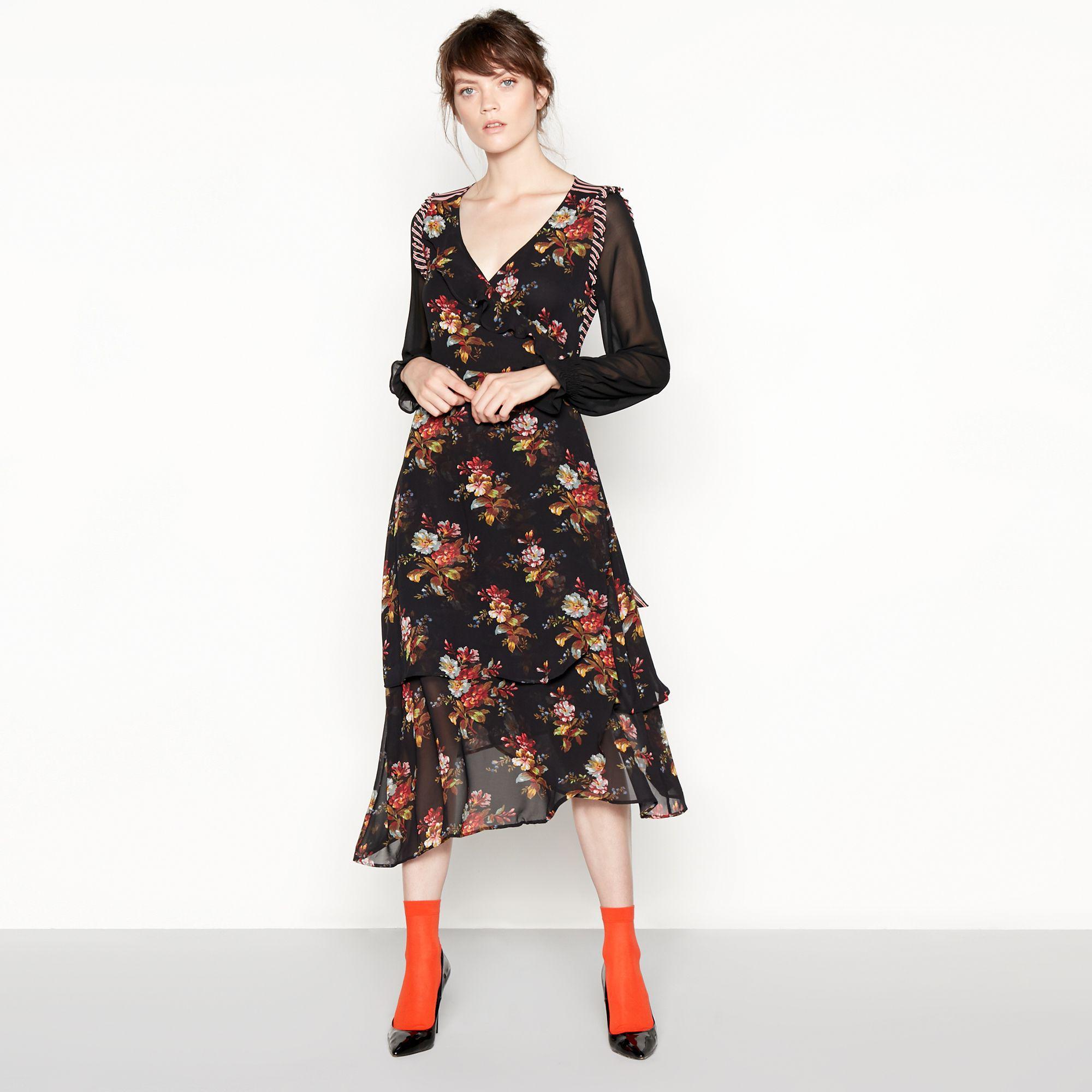 3e7569fd1175 Preen By Thornton Bregazzi. Women s Black Floral Stripe Chiffon Midi Wrap  Dress