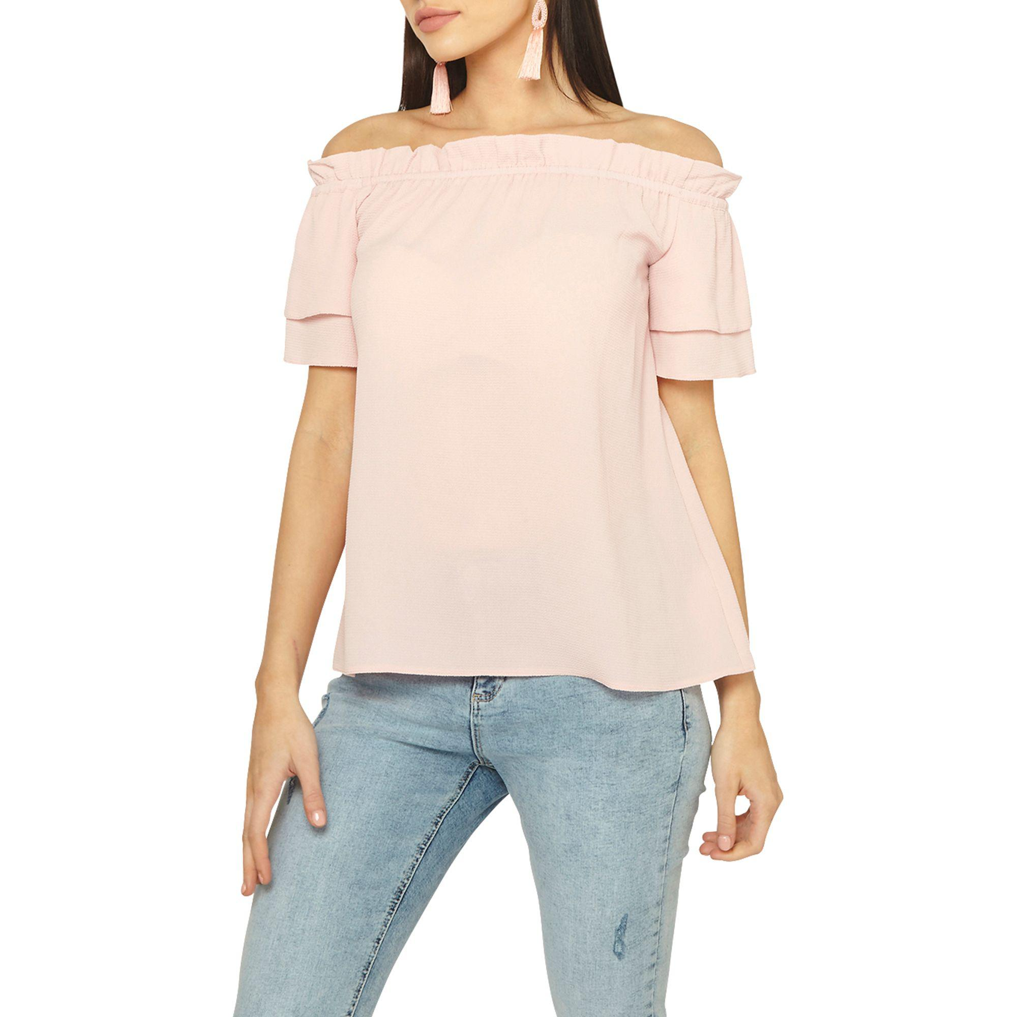 9e49d5fea37cf Dorothy Perkins Light Pink Frill Bardot Top in Pink - Lyst