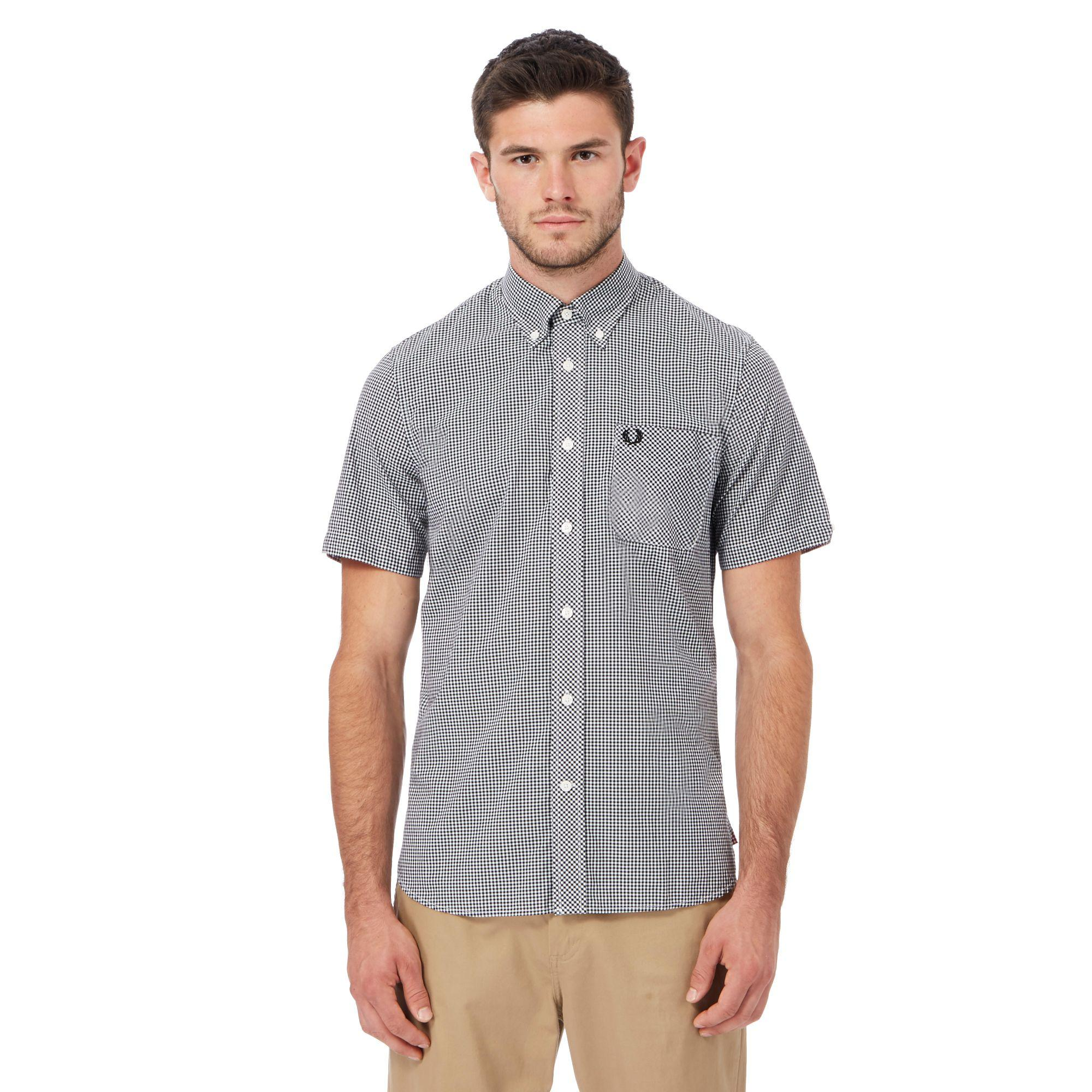 0b1451c8c97 Fred Perry Black Gingham Print Embroidered Logo Shirt in Black for ...