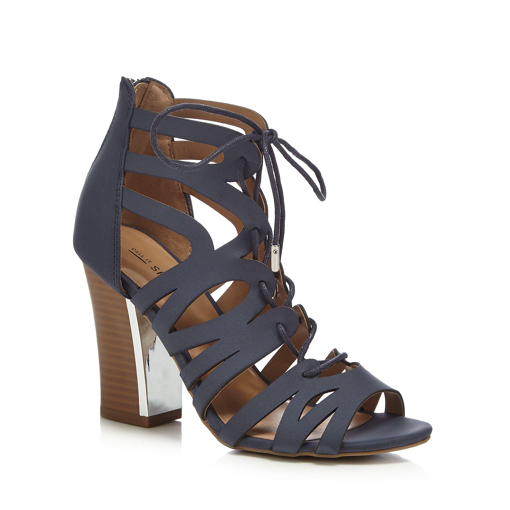 37ef03ebbfe Call It Spring Navy  tavernelle  High Block Heel Gladiator Sandals ...