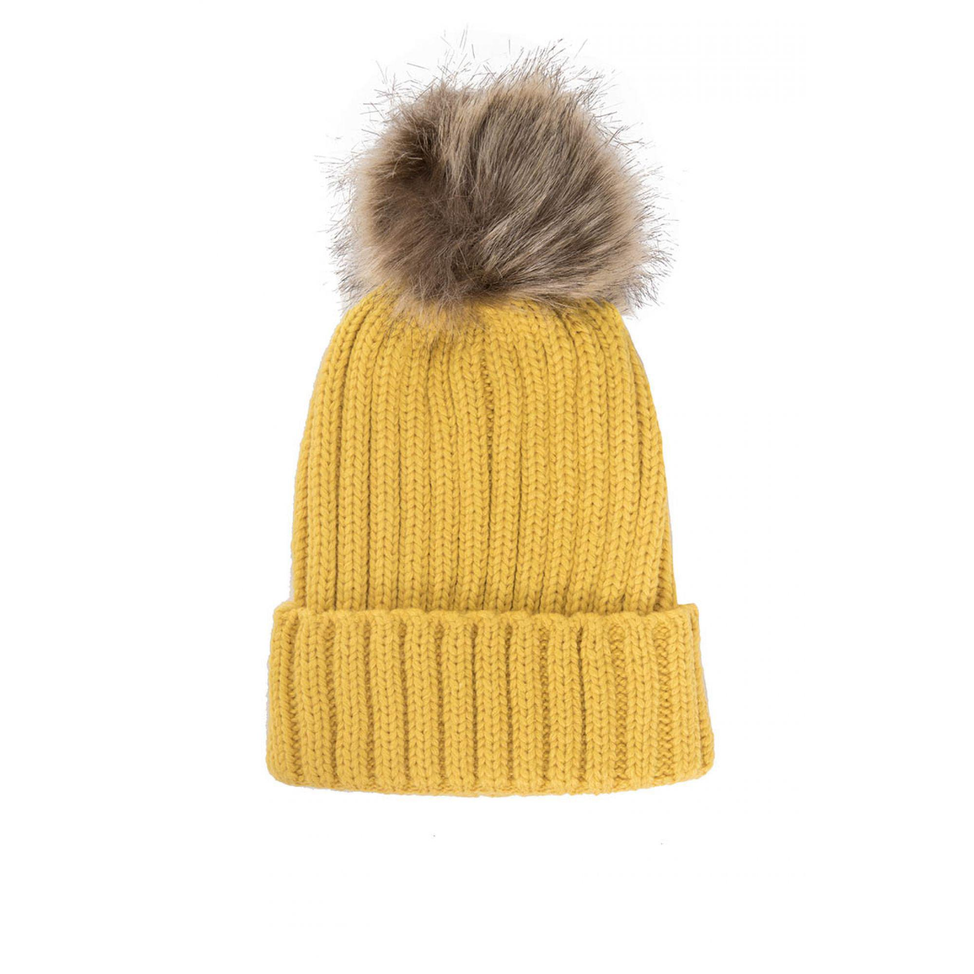 5a44a3891fb ... sweden quiz mustard knitted contrast pom pom hat in yellow lyst 5c1c6  e1e64