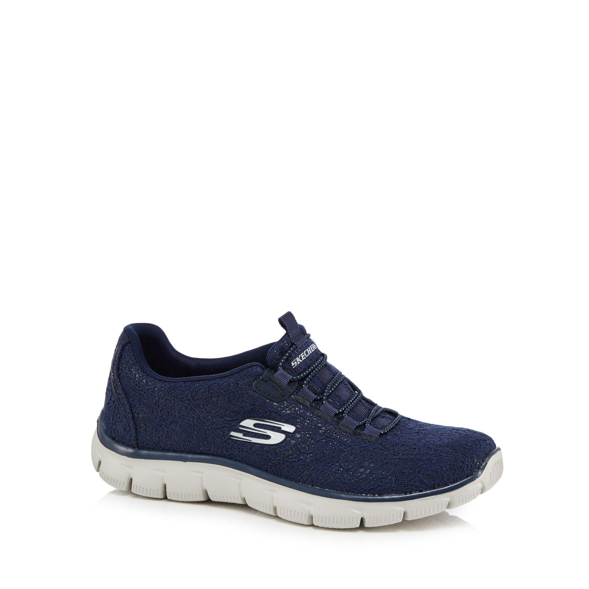 8964994a25fc Skechers Navy Knit  empire Spring Glow  Slip-on Trainers in Blue - Lyst