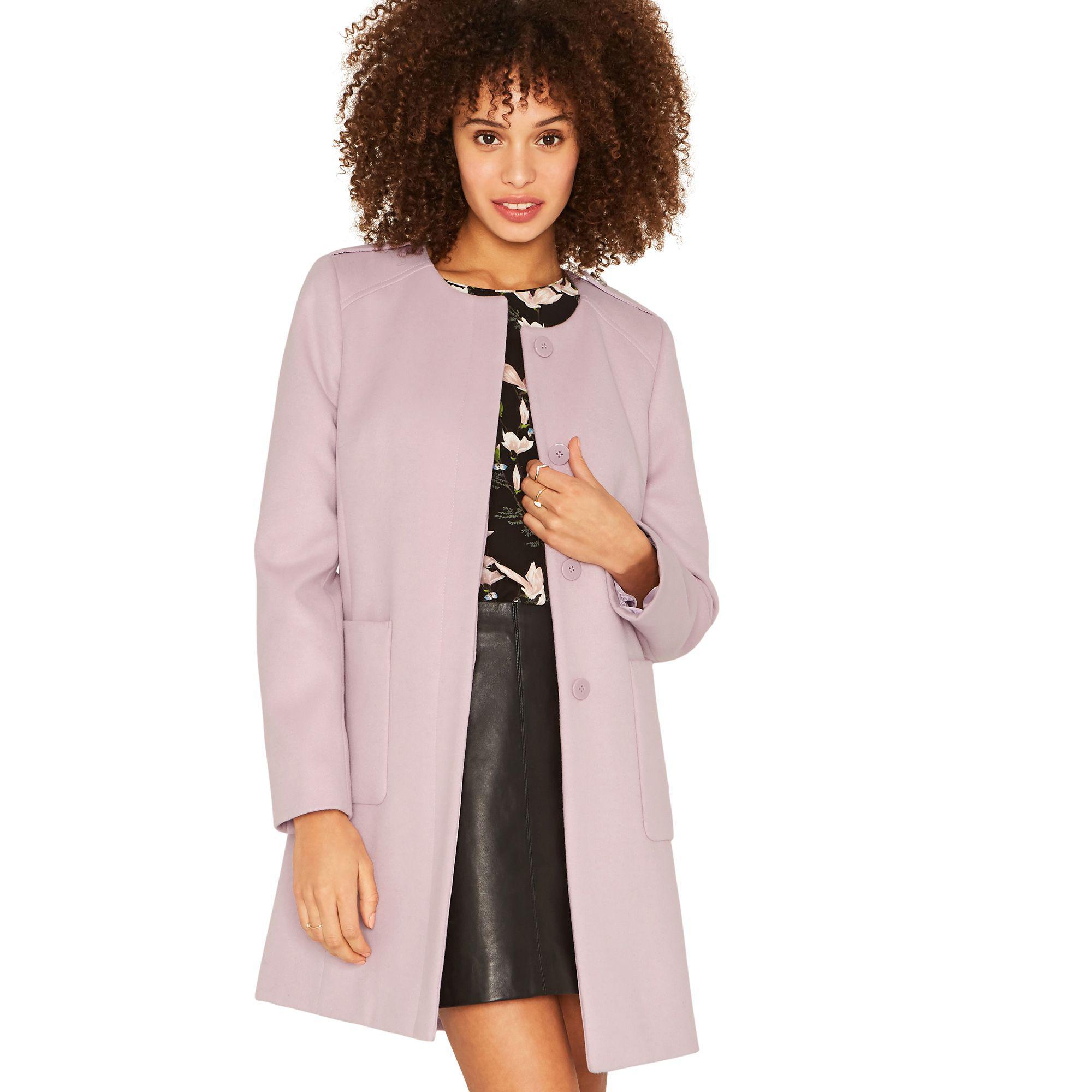 f614b7629cf2 Oasis Lilac Collarless Coat in Purple - Lyst