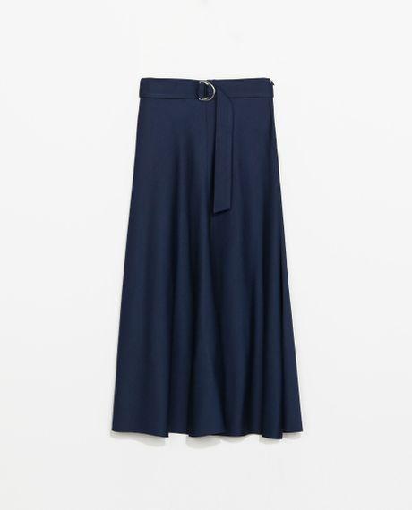 zara high waist midi skirt in blue navy blue lyst