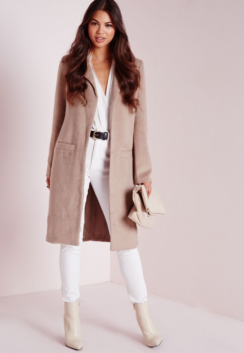 Missguided Brushed Wool Coat Taupe in Natural | Lyst