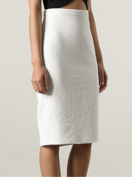 Theyskens' Theory High Waisted Pencil Skirt in White | Lyst