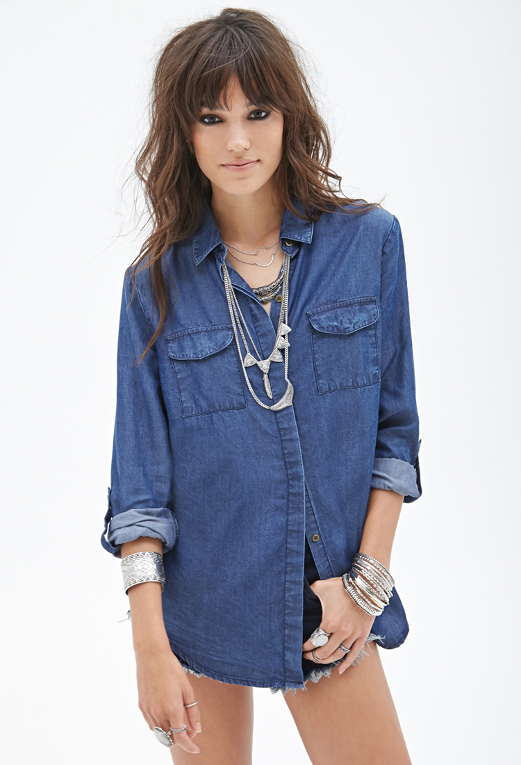 Lyst Forever 21 Oversized Denim Shirt Youve Been Added To The