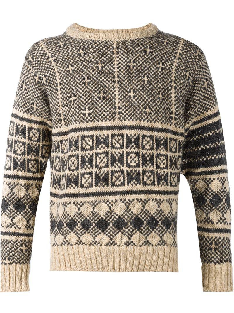 Thom browne Fair Isle Print Sweater in Natural for Men   Lyst