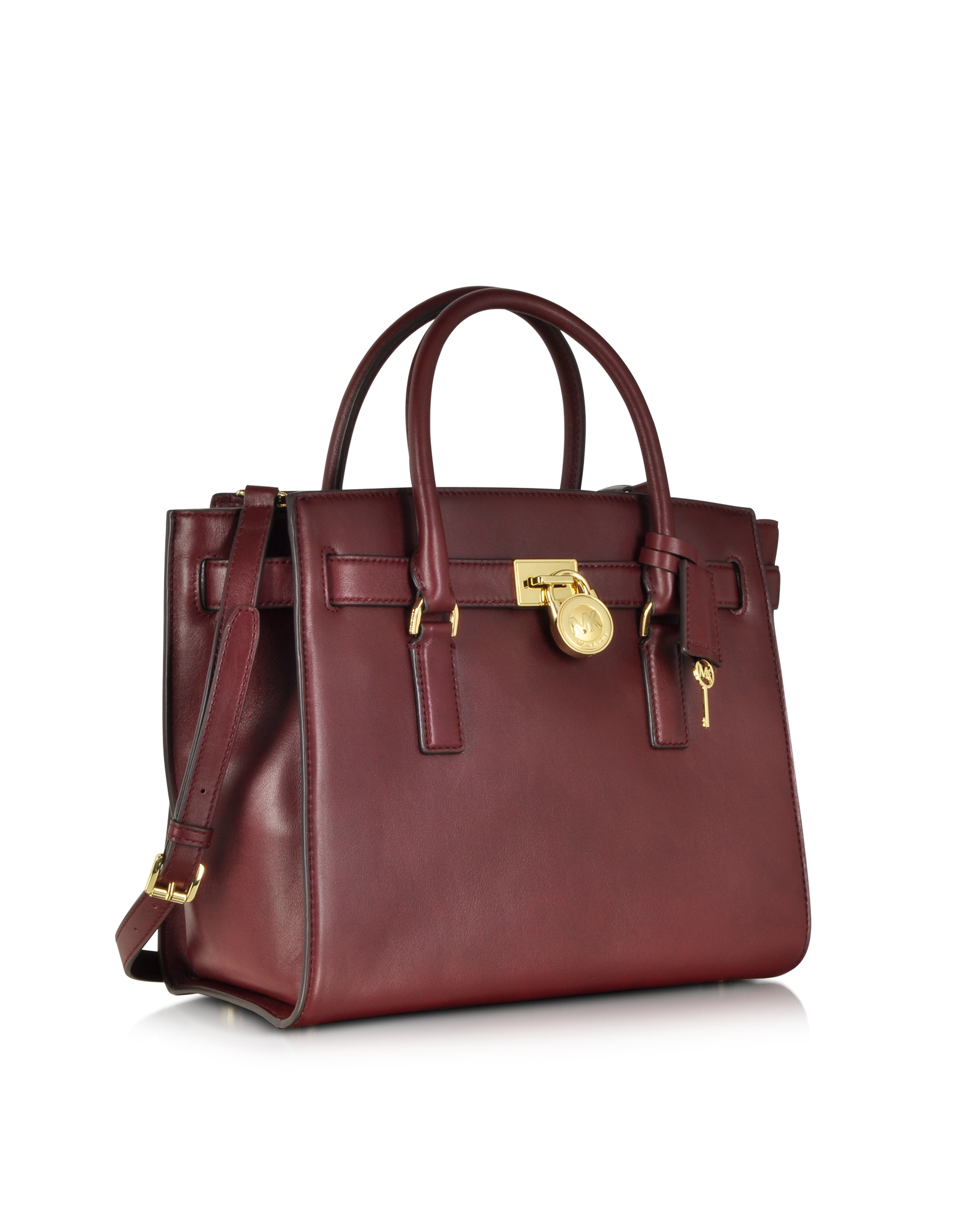 Michael kors Hamilton Traveler Large Leather Satchel in Brown | Lyst