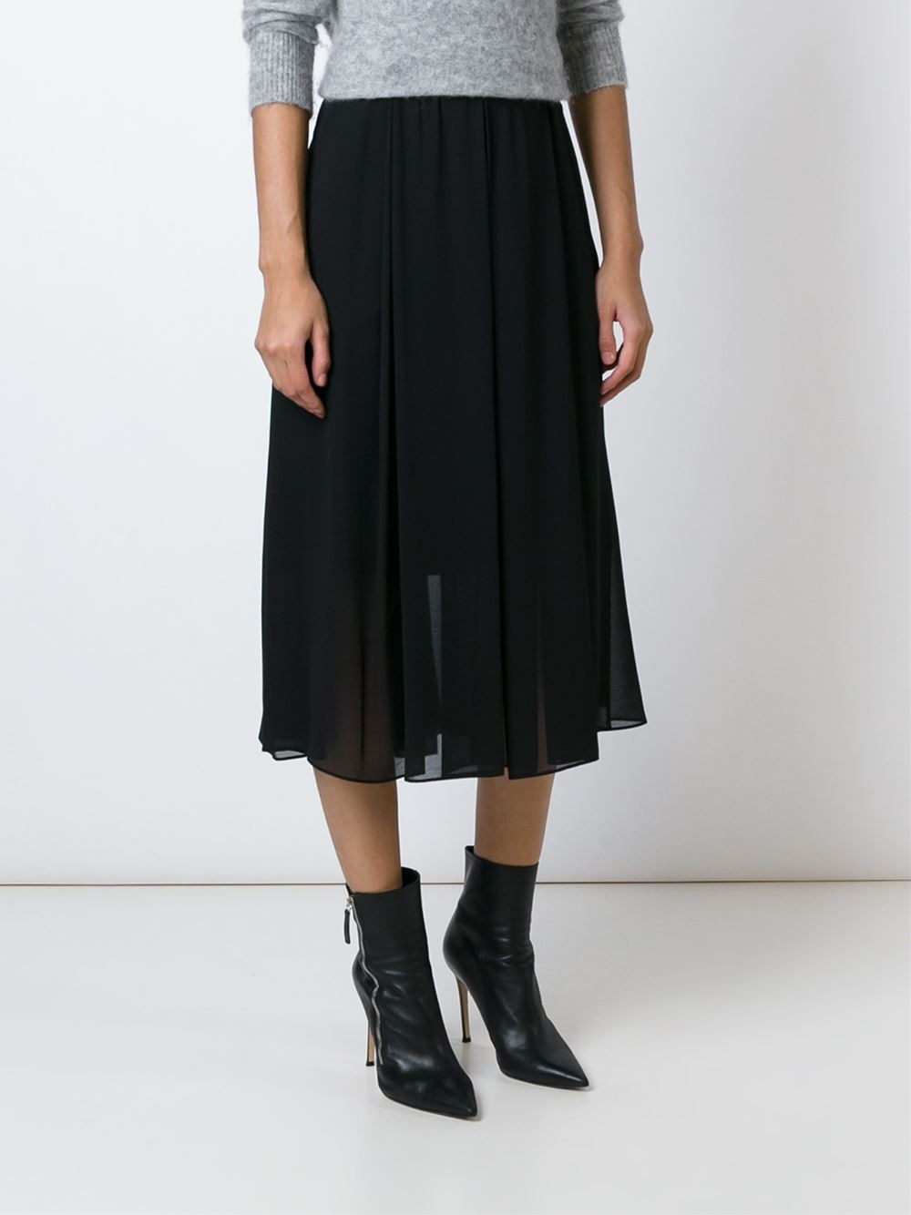 179f106e07 By Malene Birger Sheer Pleated Midi Skirt in Black - Lyst