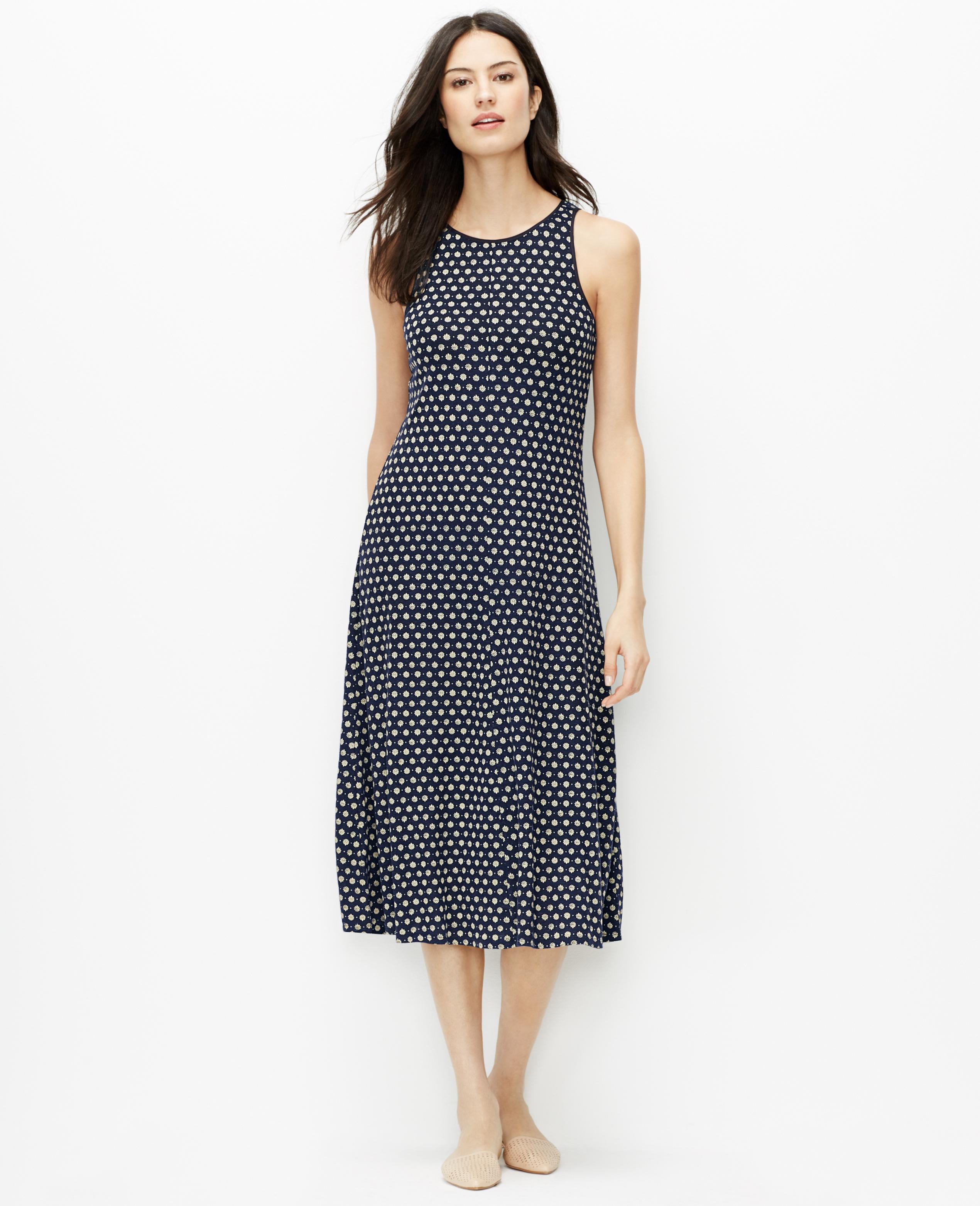 a7b5f96d55a64c Ann Taylor Petite Floral Midi Dress in Blue - Lyst