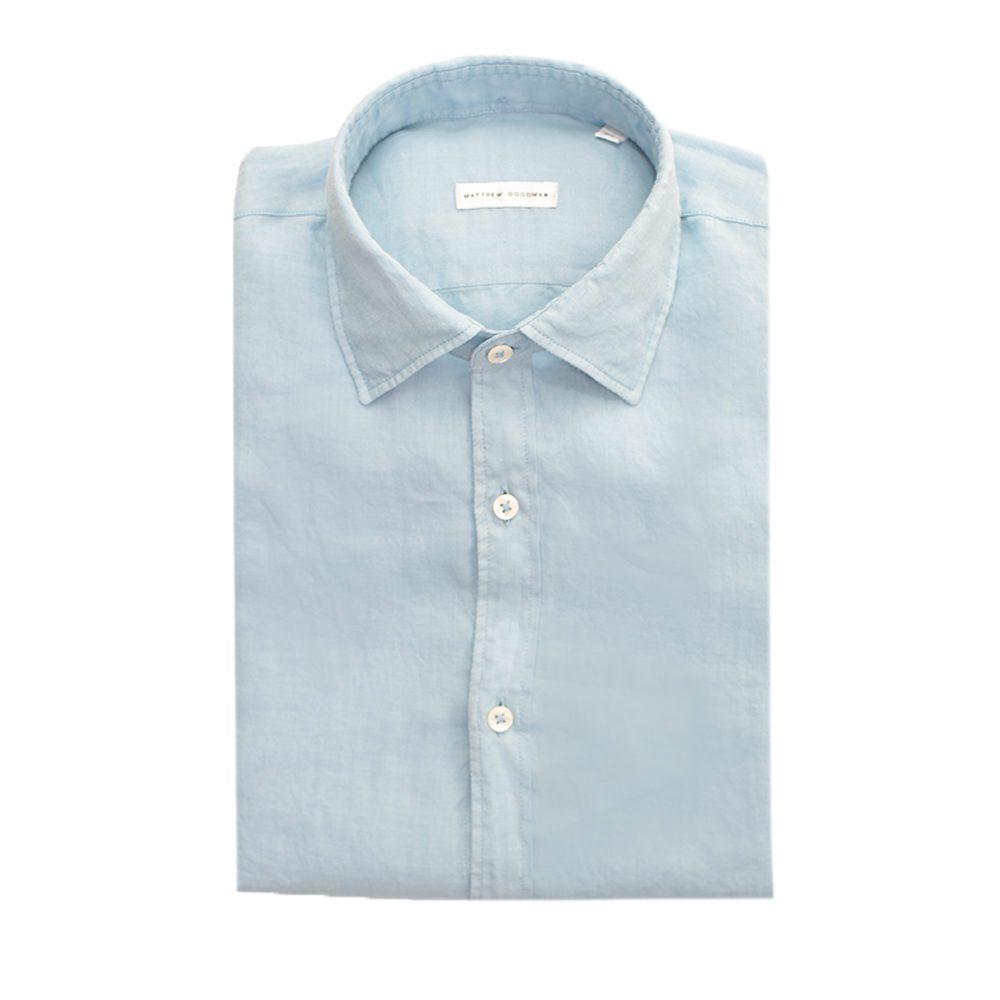 Matthew goodman light blue linen shirt in blue for men lyst for Mens light blue linen shirt