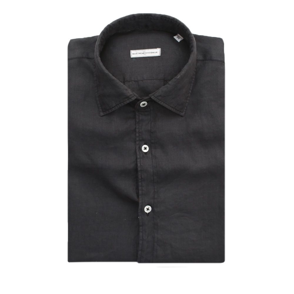 Matthew goodman Black Linen Shirt in Black for Men | Lyst