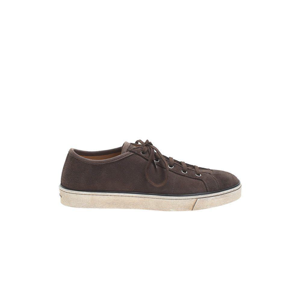 Santoni Dark Brown Suede Sneakers in Brown