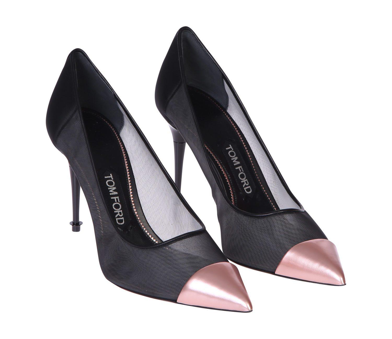 Metallic Leather And Mesh Pumps - Black Tom Ford ryjHN7