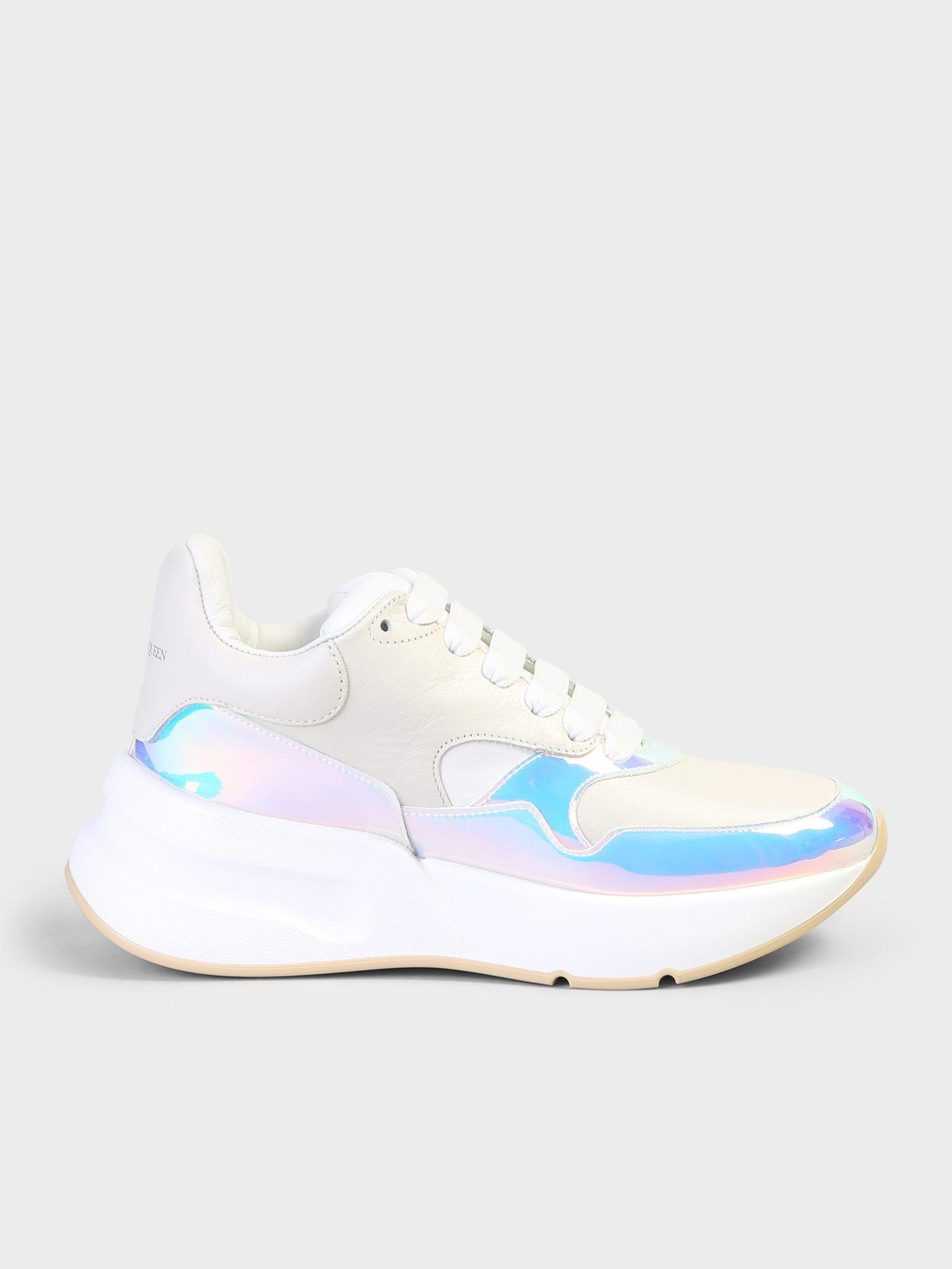 6aa94df4705 Lyst - Alexander McQueen Holographic Leather Sneakers in White - Save 3%