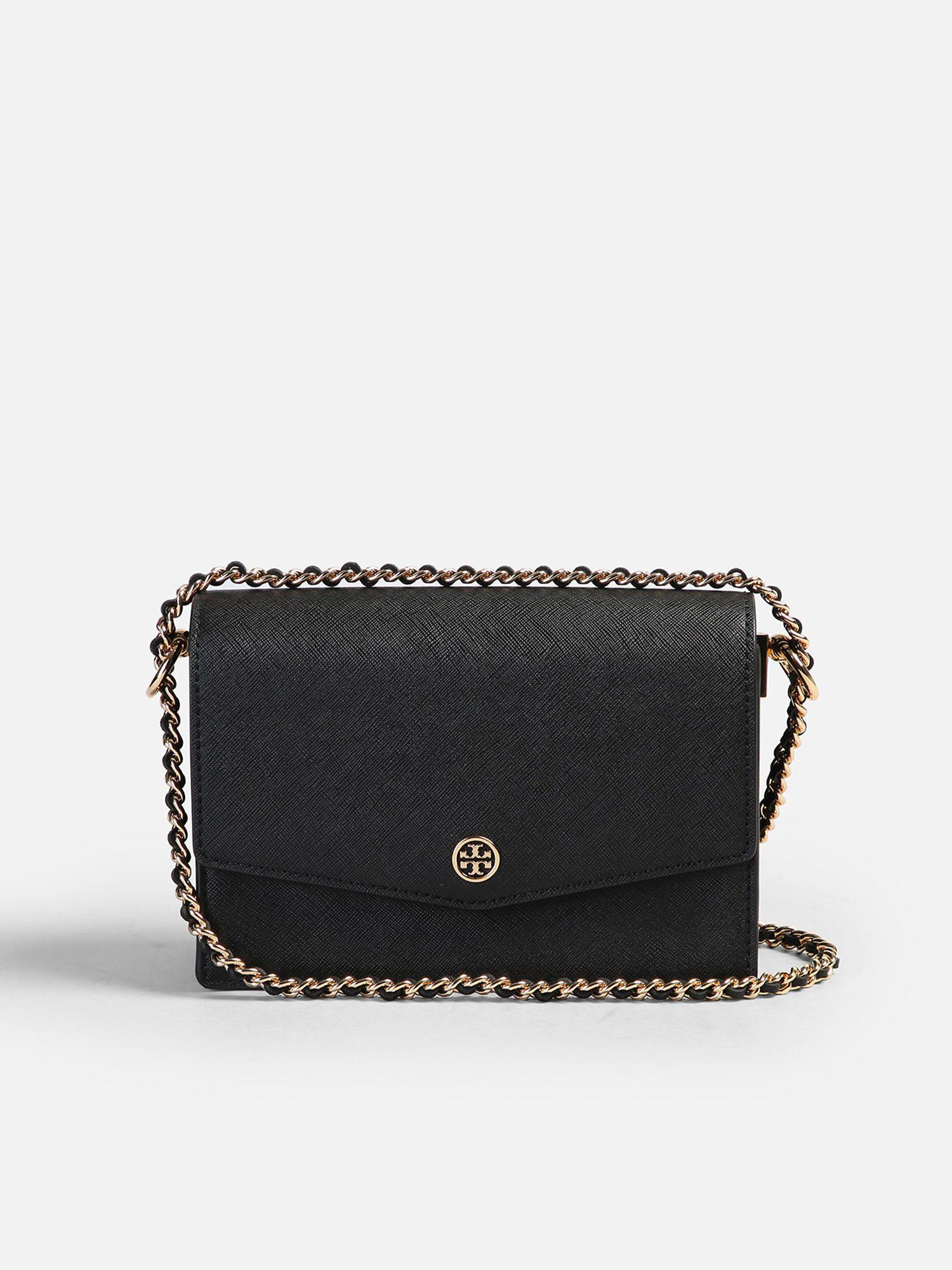 21a769fe080 Lyst - Tory Burch Mini Robinson Leather Bag in Black