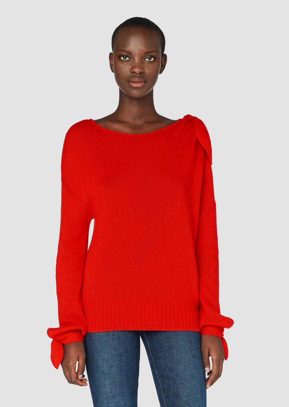 Derek lam Sweater With Tie Detail in Red | Lyst