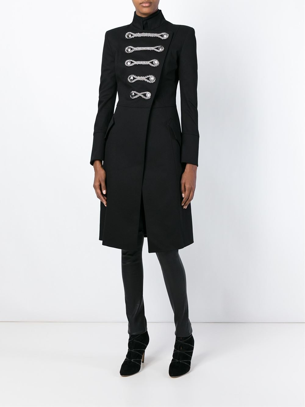 Balmain Long Military Coat in Black | Lyst