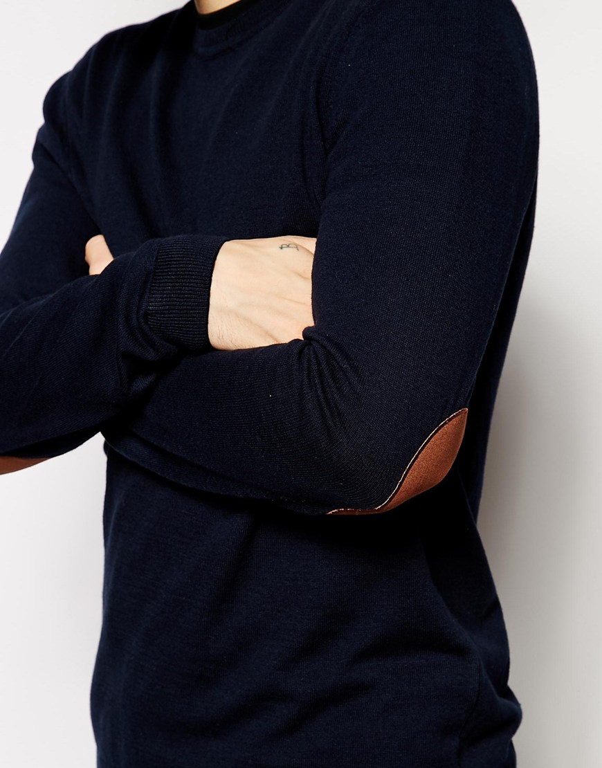 Asos Crew Neck Jumper With Elbow Patches In Cotton in Blue for Men ...