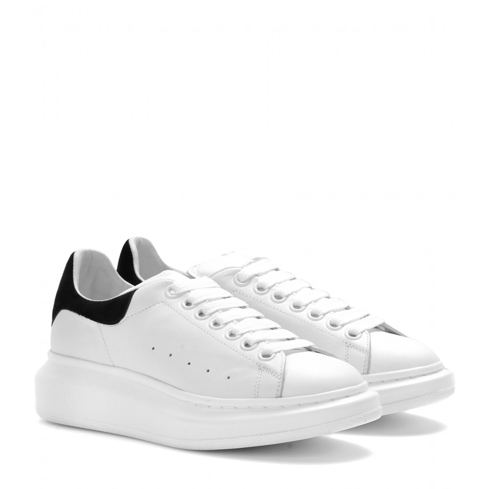 alexander mcqueen leather sneakers in white lyst. Black Bedroom Furniture Sets. Home Design Ideas