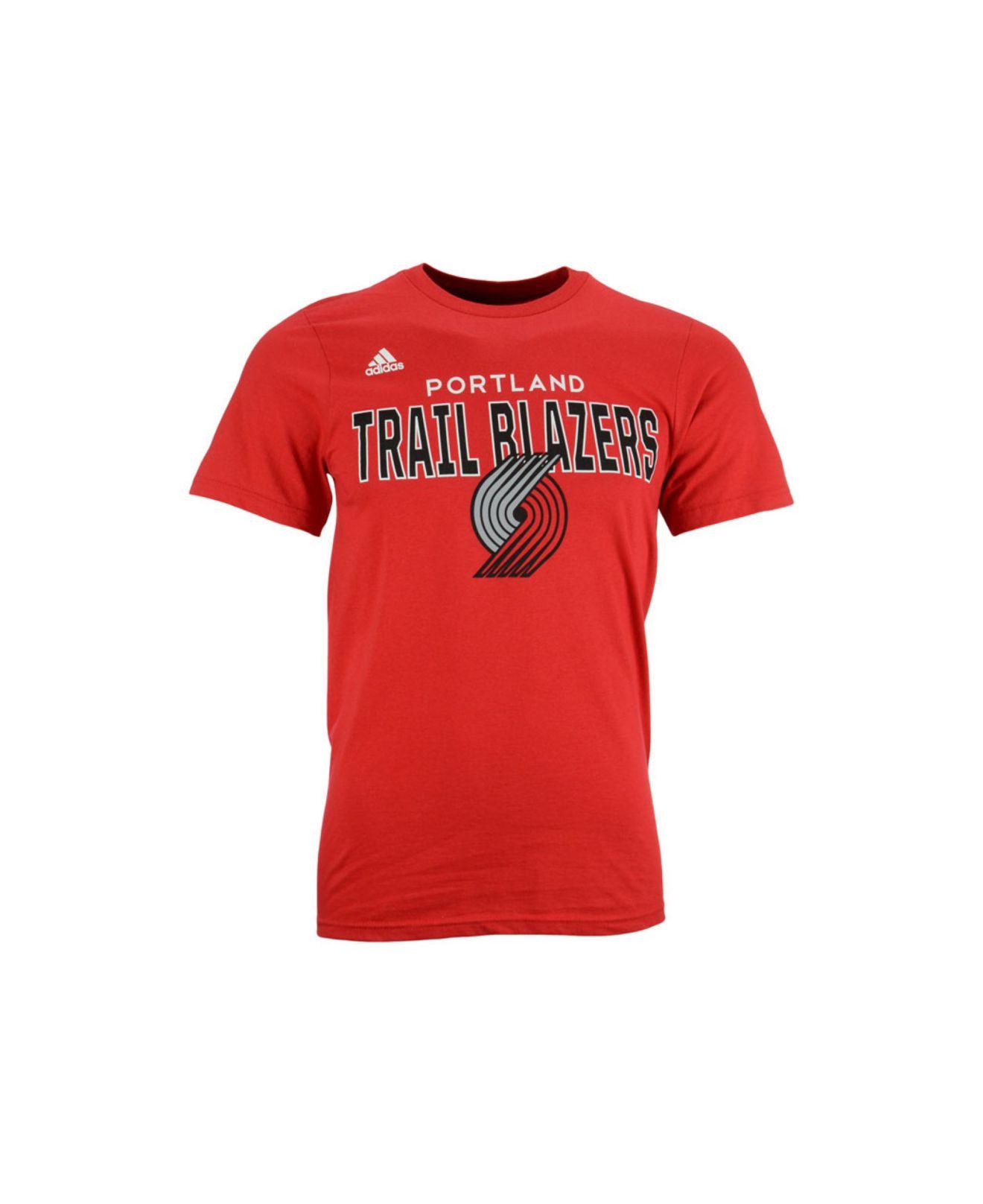 Lyst adidas men 39 s short sleeve portland trail blazers for T shirt printing in portland oregon